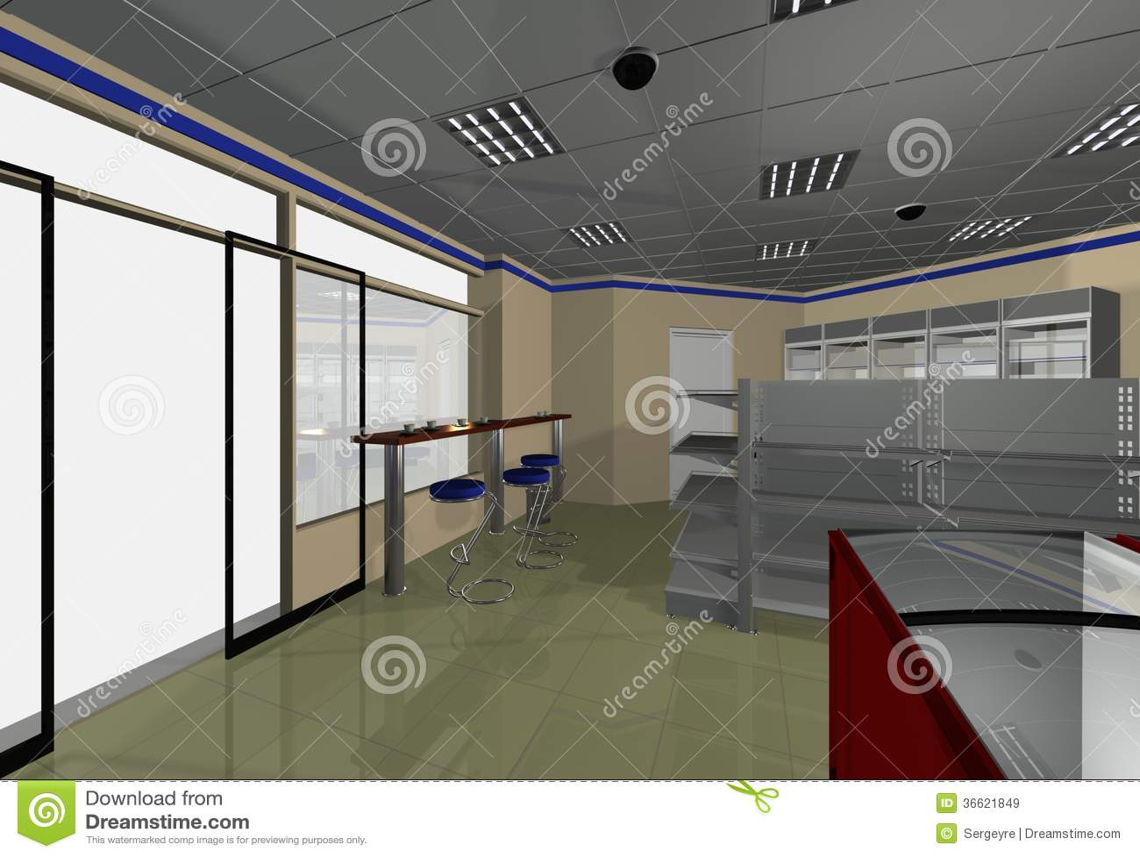 Interior design minimarket royalty free stock images for Gas agency interior design