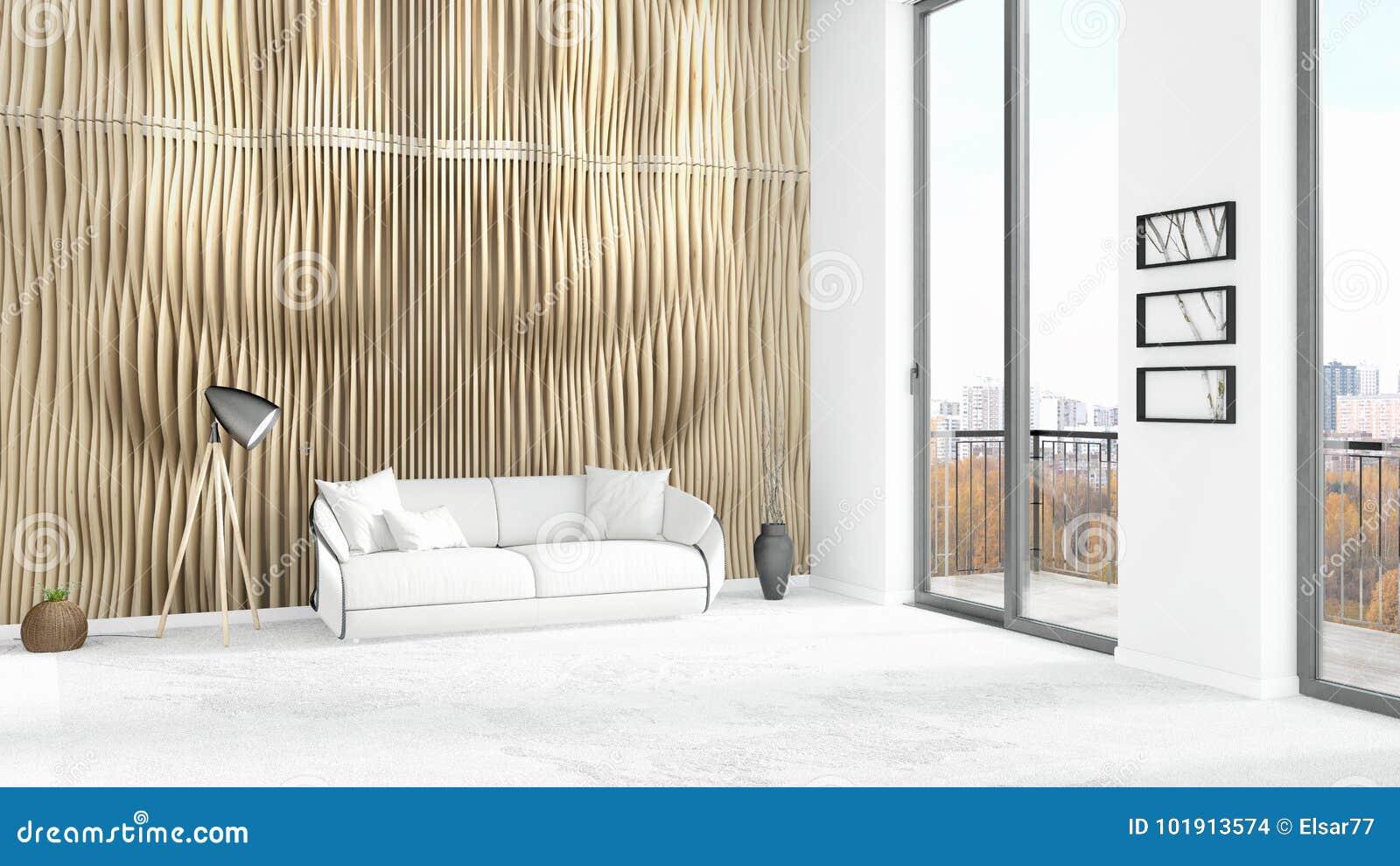 Interior design minimo di stile della camera da letto bianca nuovissima del sottotetto con la - La finestra della camera da letto ...