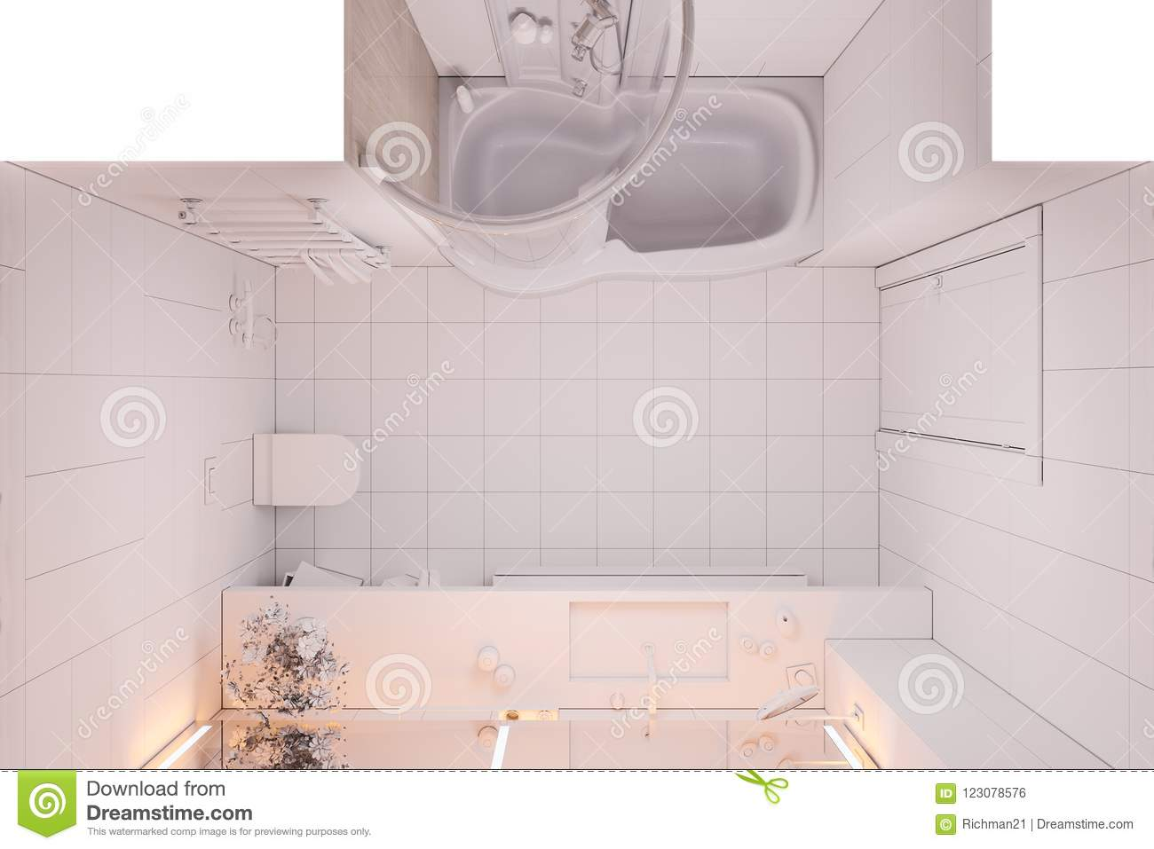 3d Illustration Interior Design Bathroom Without Textures And Color ...