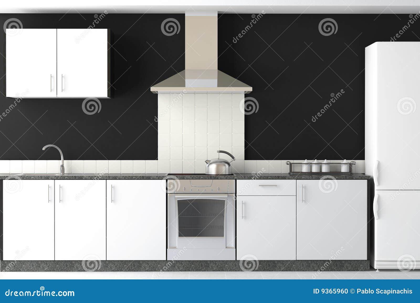 Interior design of modern black kitchen stock illustration