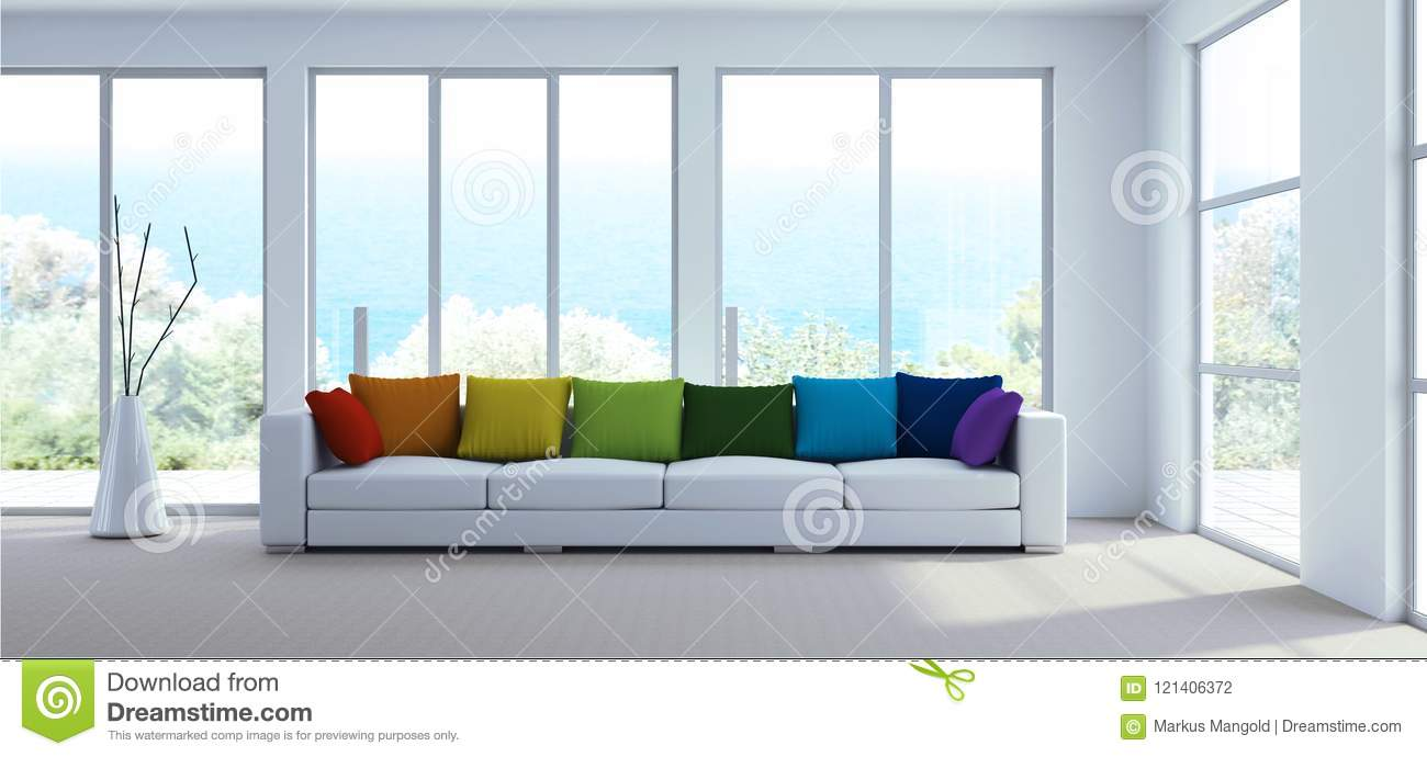 Interior Design Modern Bright Room With White Sofa And Rainbow Pillows Stock Illustration Illustration Of Black Chair 121406372