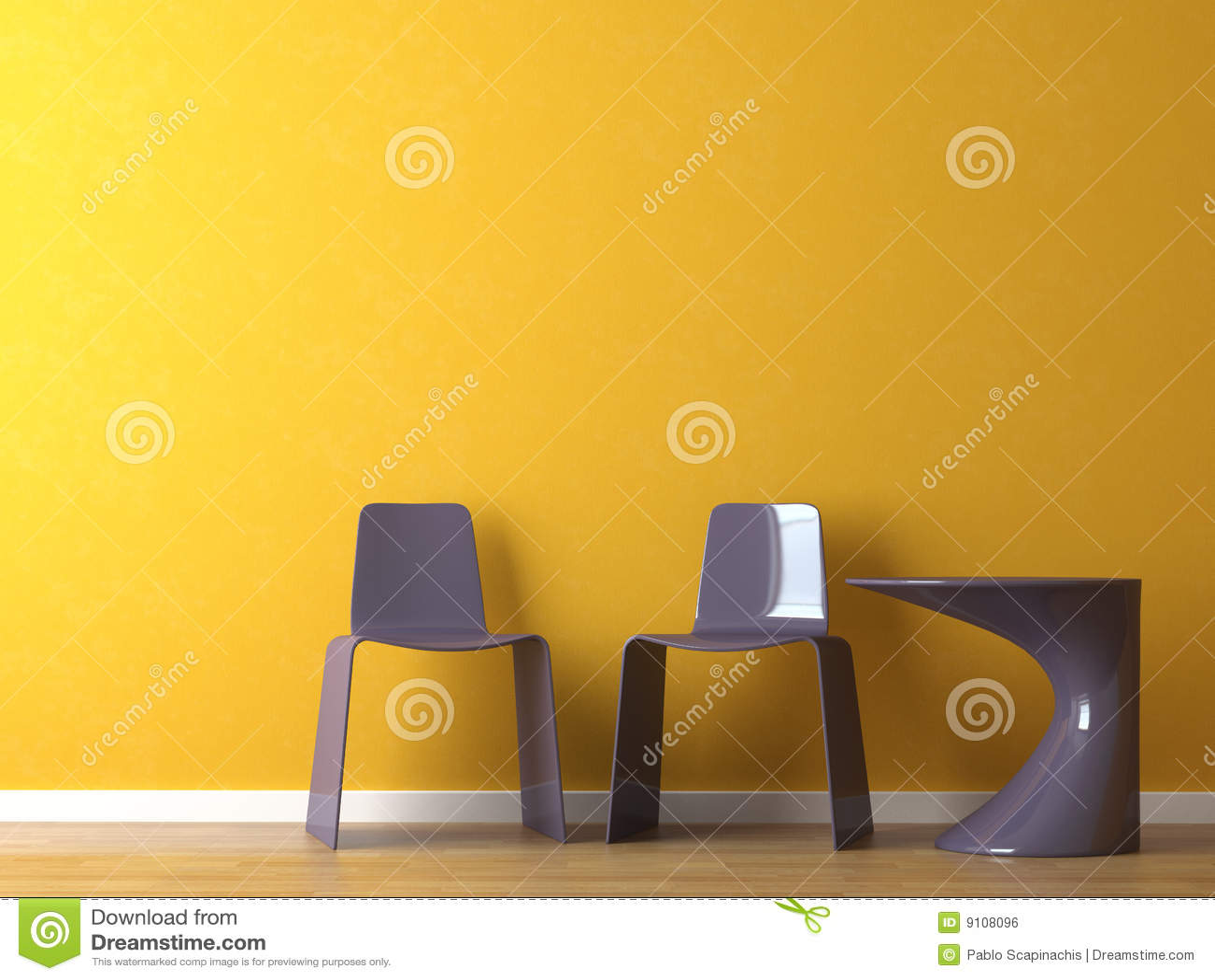 interior design modern purple chair on orange wall royalty free