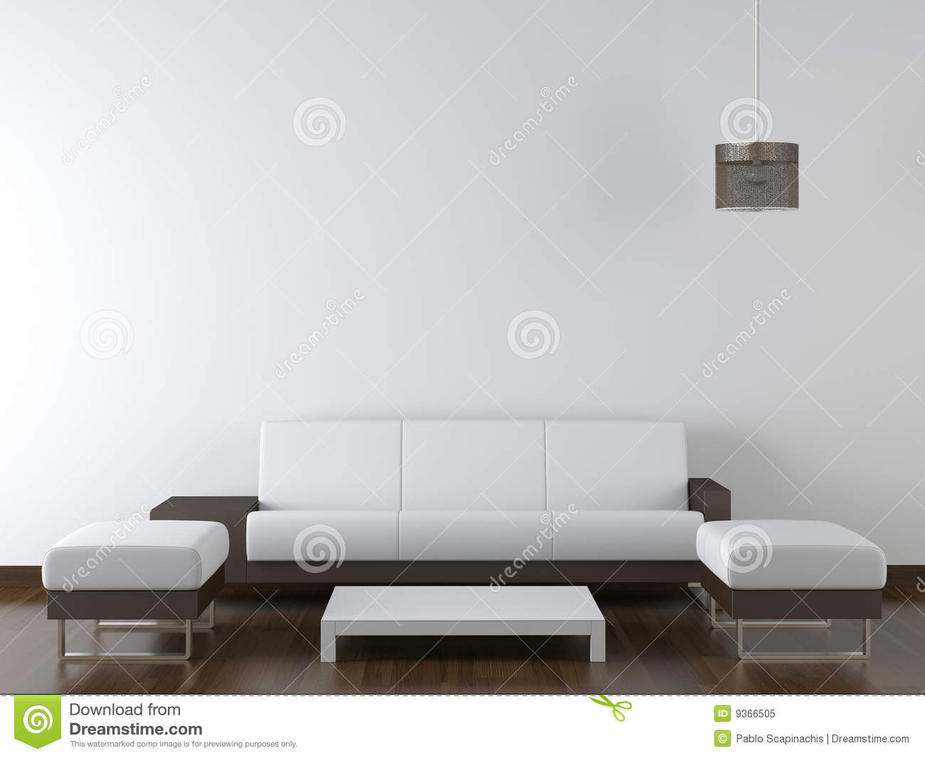 Interior Design Modern Furniture On White Wall Royalty Free Stock ...