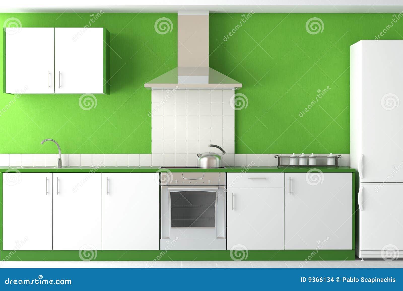 Interior design of modern green kitchen stock images for Modern green kitchen designs