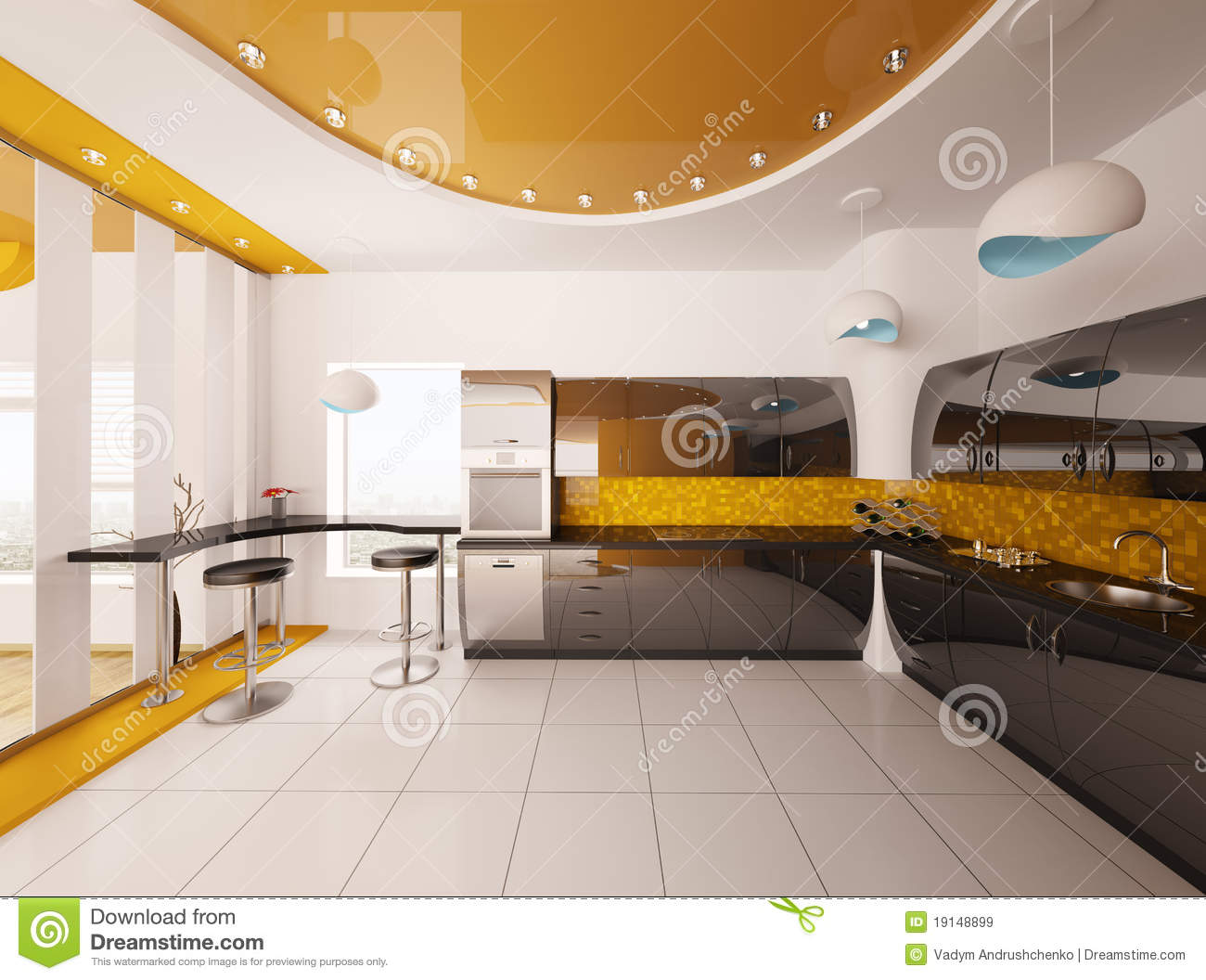 interior design of modern kitchen 3d render stock illustration illustration of stool oven. Black Bedroom Furniture Sets. Home Design Ideas