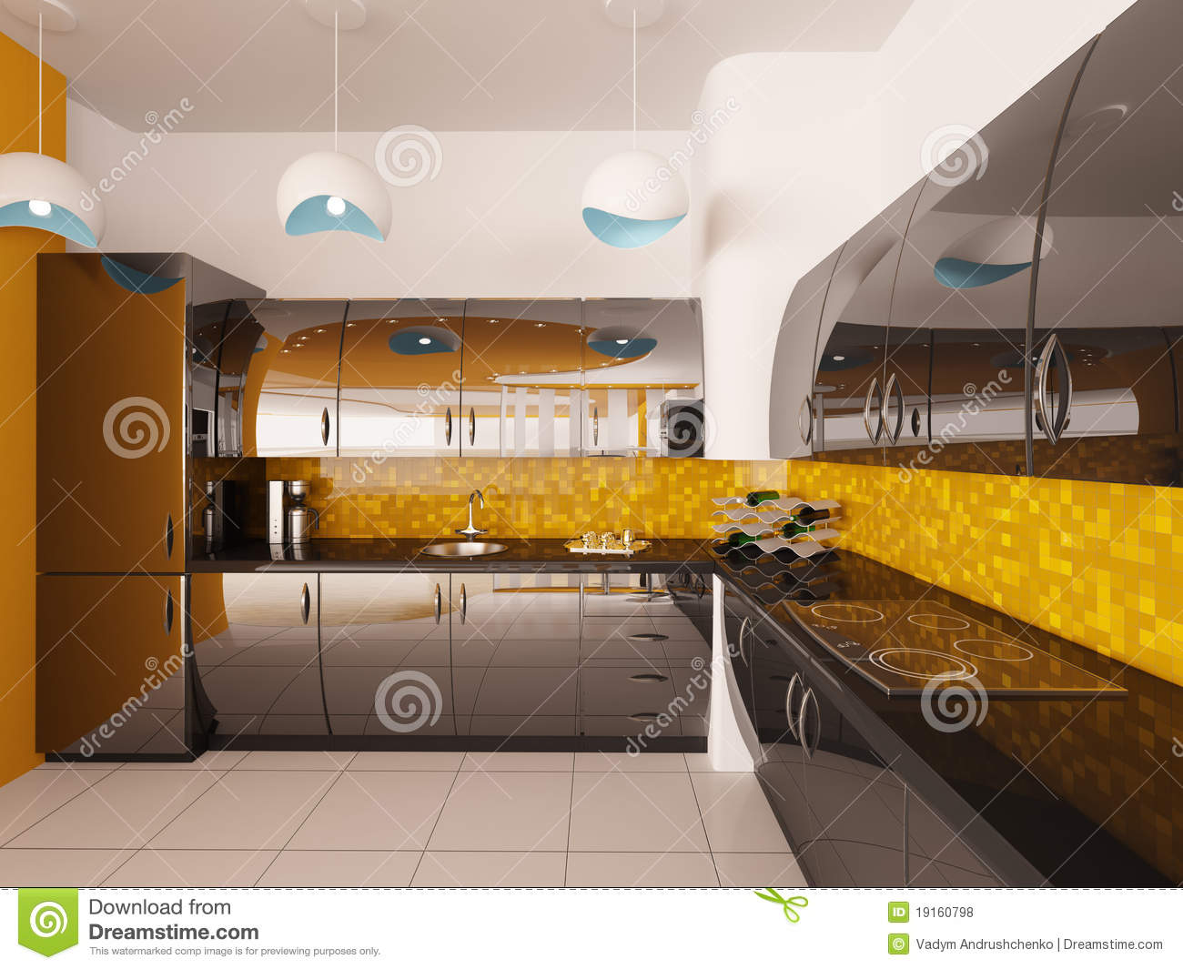 Interior Design Of Modern Kitchen 3d Render Stock