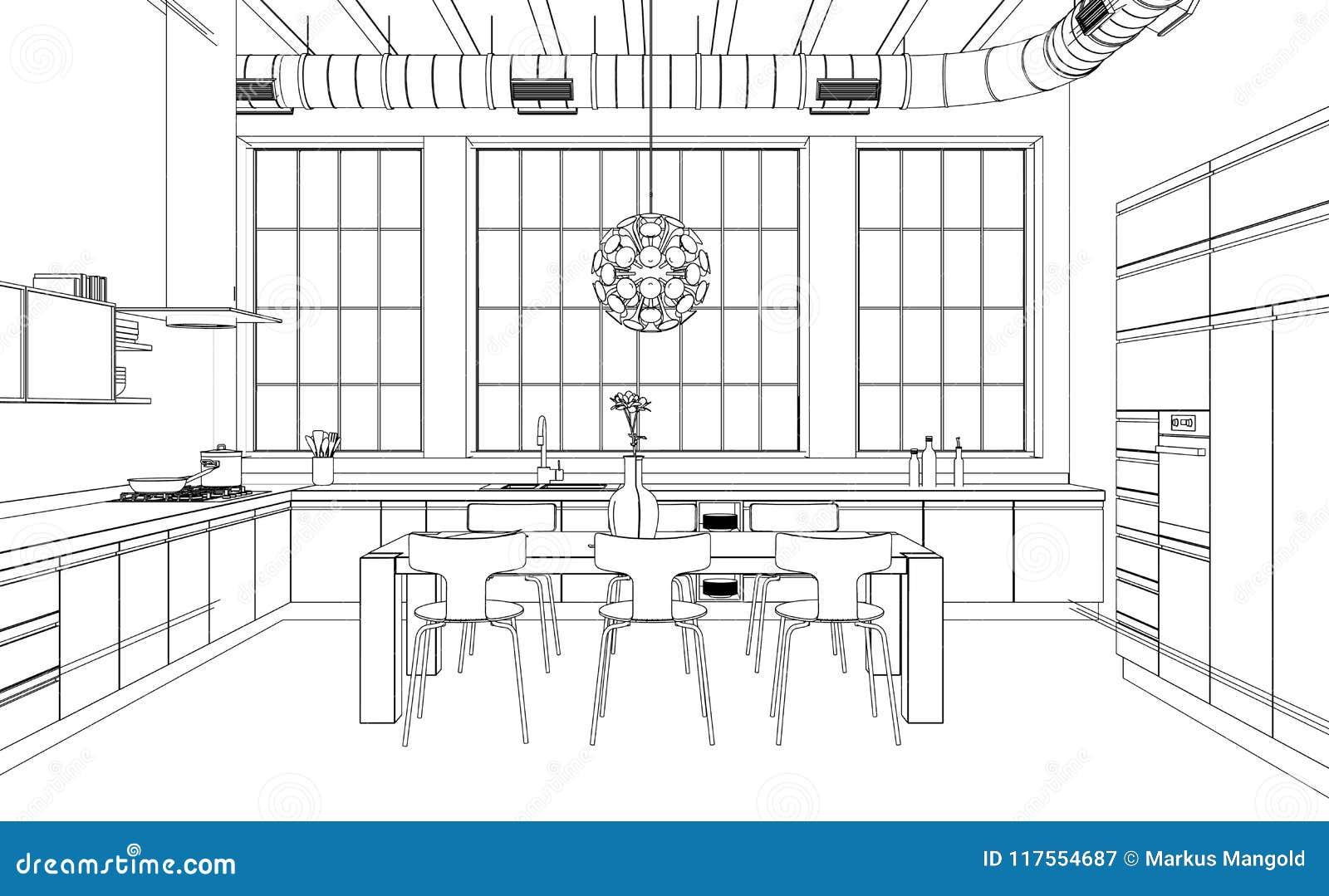 Interior Design Modern Kitchen Drawing Plan Stock Illustration
