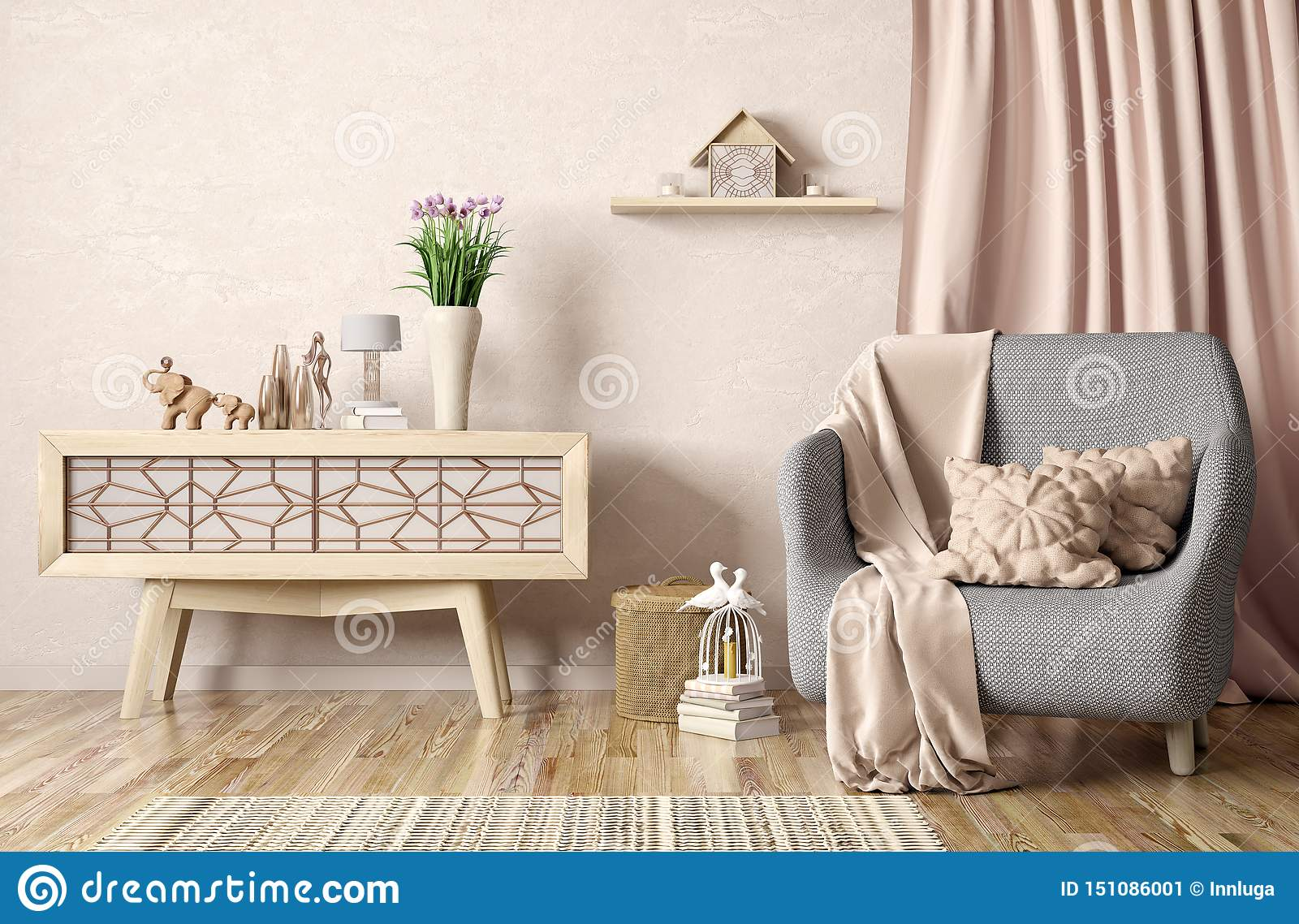 Interior Design Of Modern Living Room With Armchair And Cabinet 3d Renderin Stock Illustration Illustration Of Interior Gray 151086001