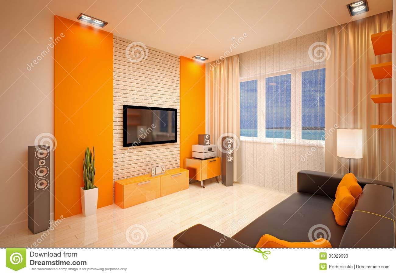 Interior design modern living room stock photos image for Interior design living room orange