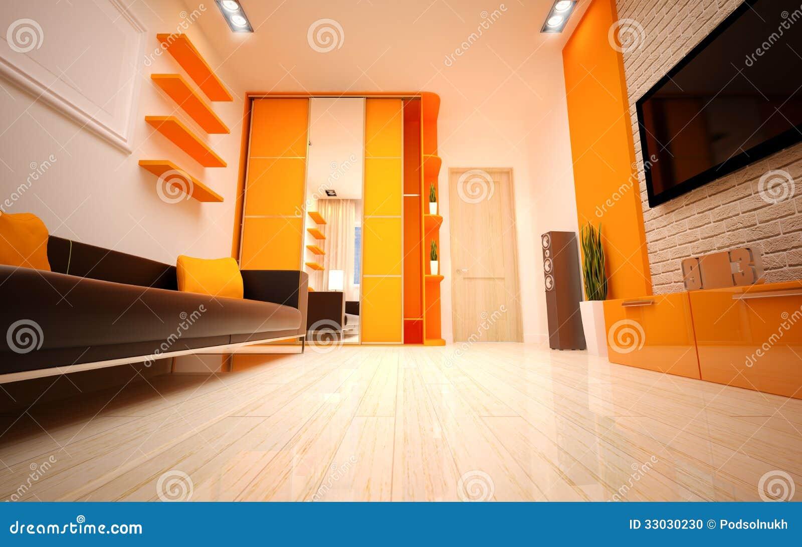 Interior design modern living room stock photo image for Interior design living room orange