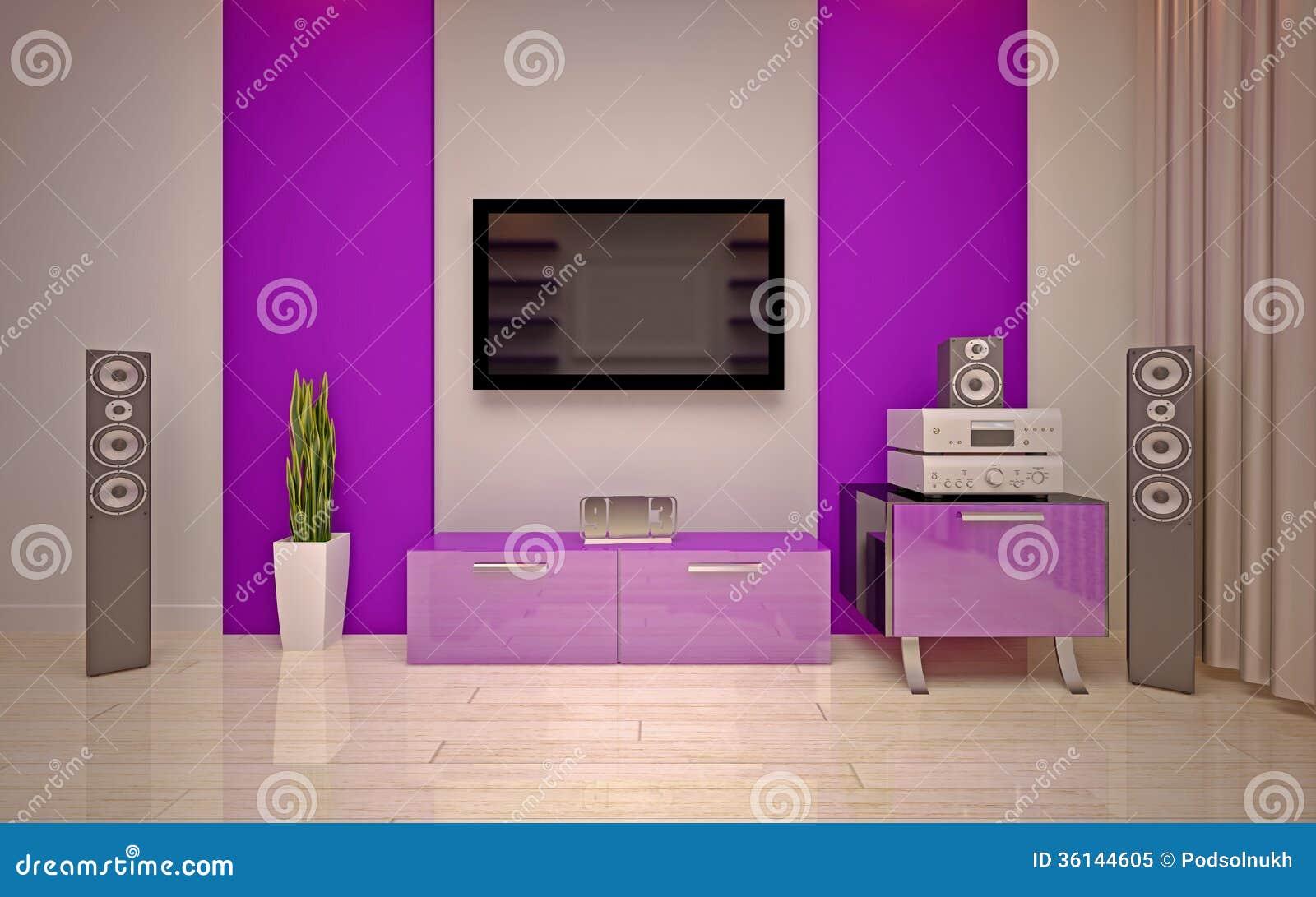 Interior design modern living room stock illustration image 36144605 - Interior house decoration with purple ...