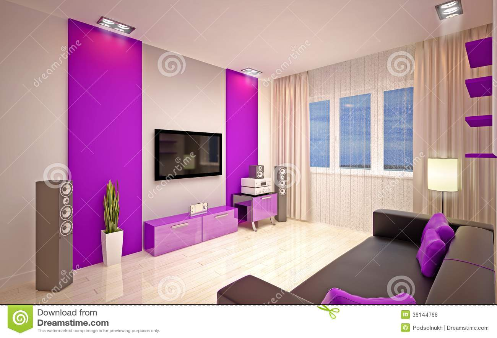Interior design modern living room royalty free stock for Interior design bedroom purple