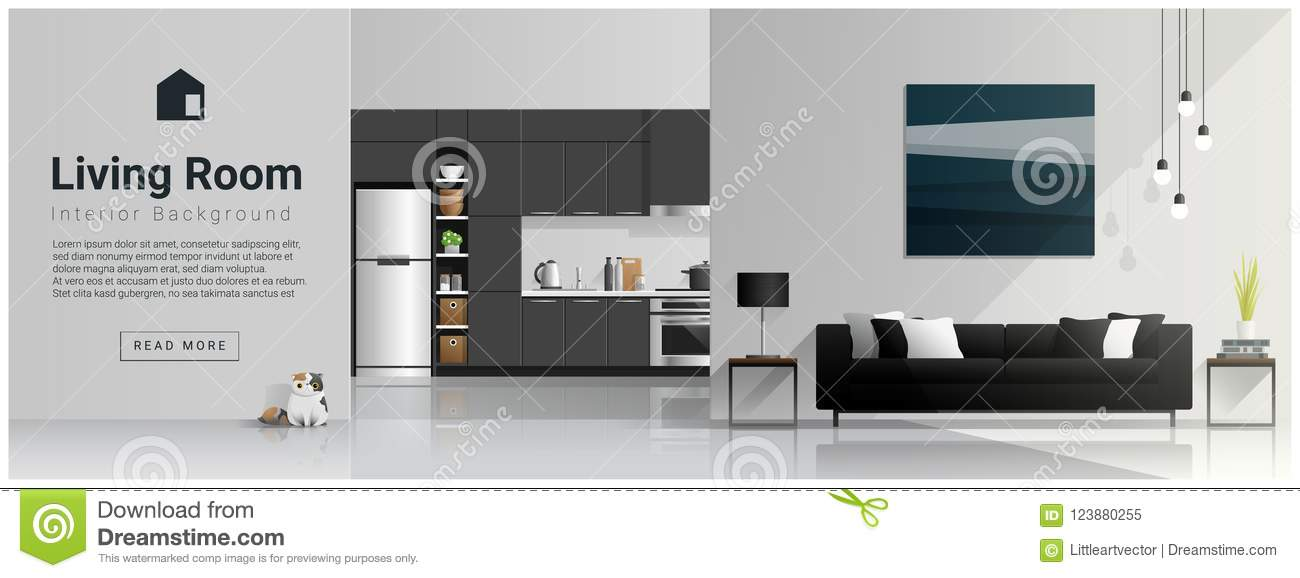 Interior design with modern living room and kitchen background