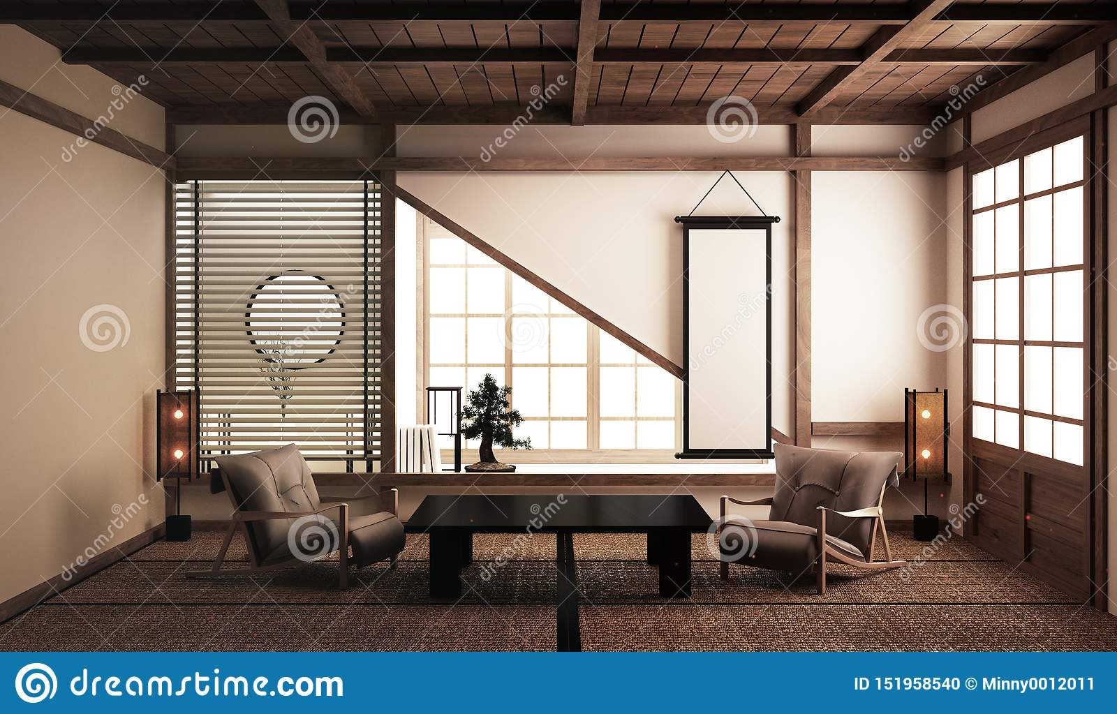 Interior Design Modern Living Room With Low Table Arm Chairs Bonsai Tree And Decoration Japanese Style 3d Rendering Stock Illustration Illustration Of Hostel Korean 151958540