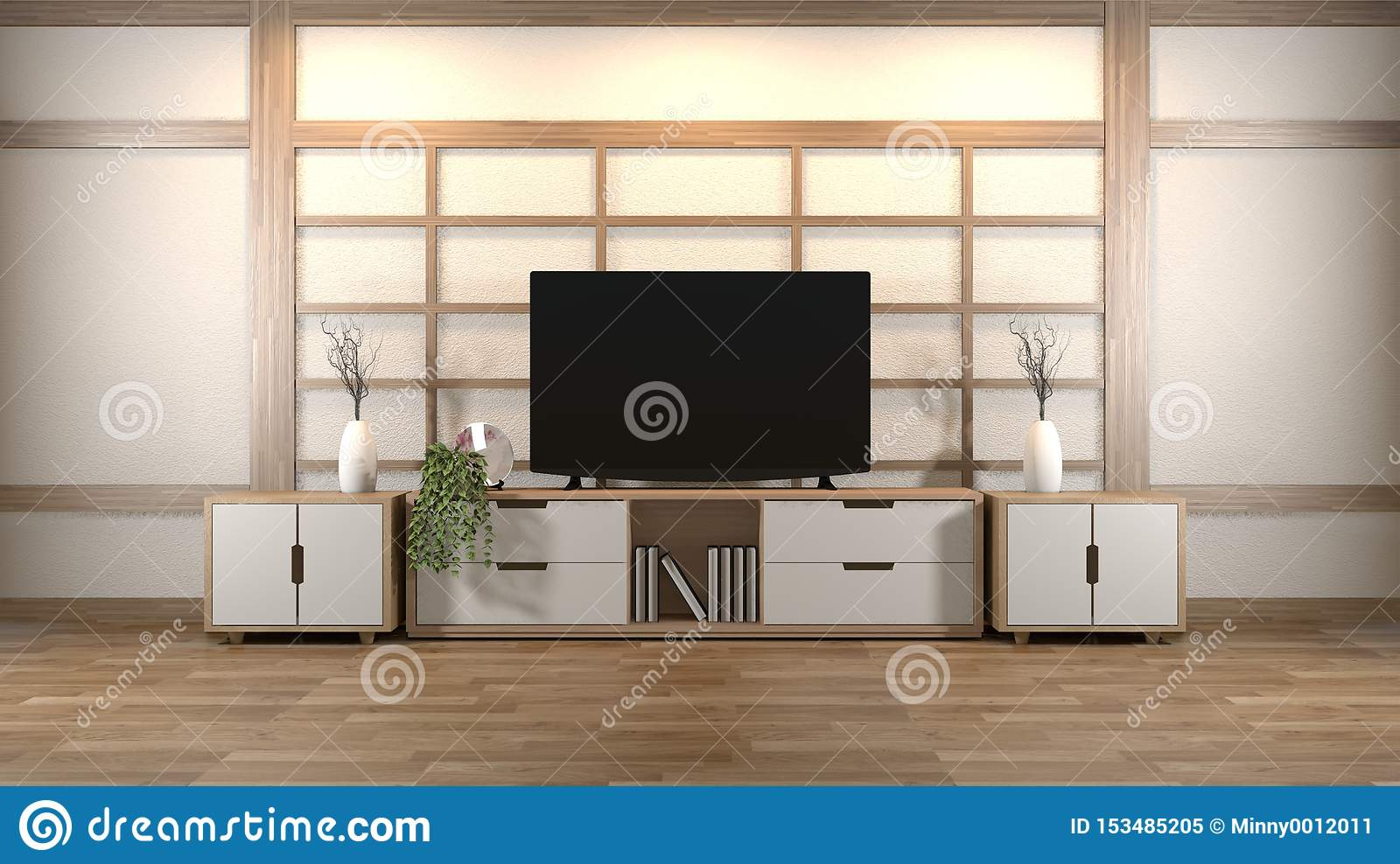 Interior Design,modern Living Room With Smart Tv,table,lamp,wood ...