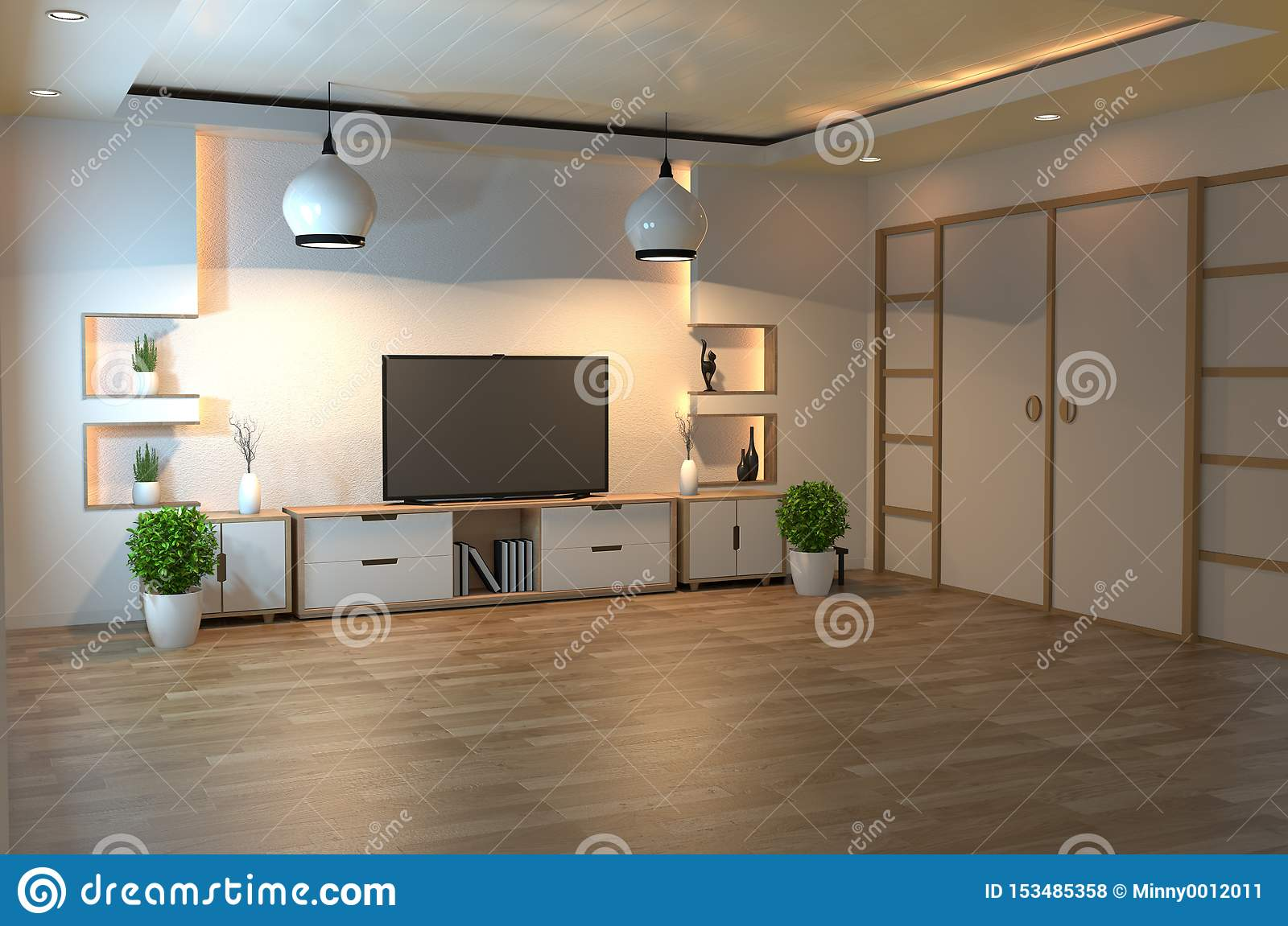 Interior Design Modern Living Room With Smart Tv Table Lamp Wood Floor And White Wall Minimal Style 3d Rendering Stock Illustration Illustration Of Color Armchair 153485358