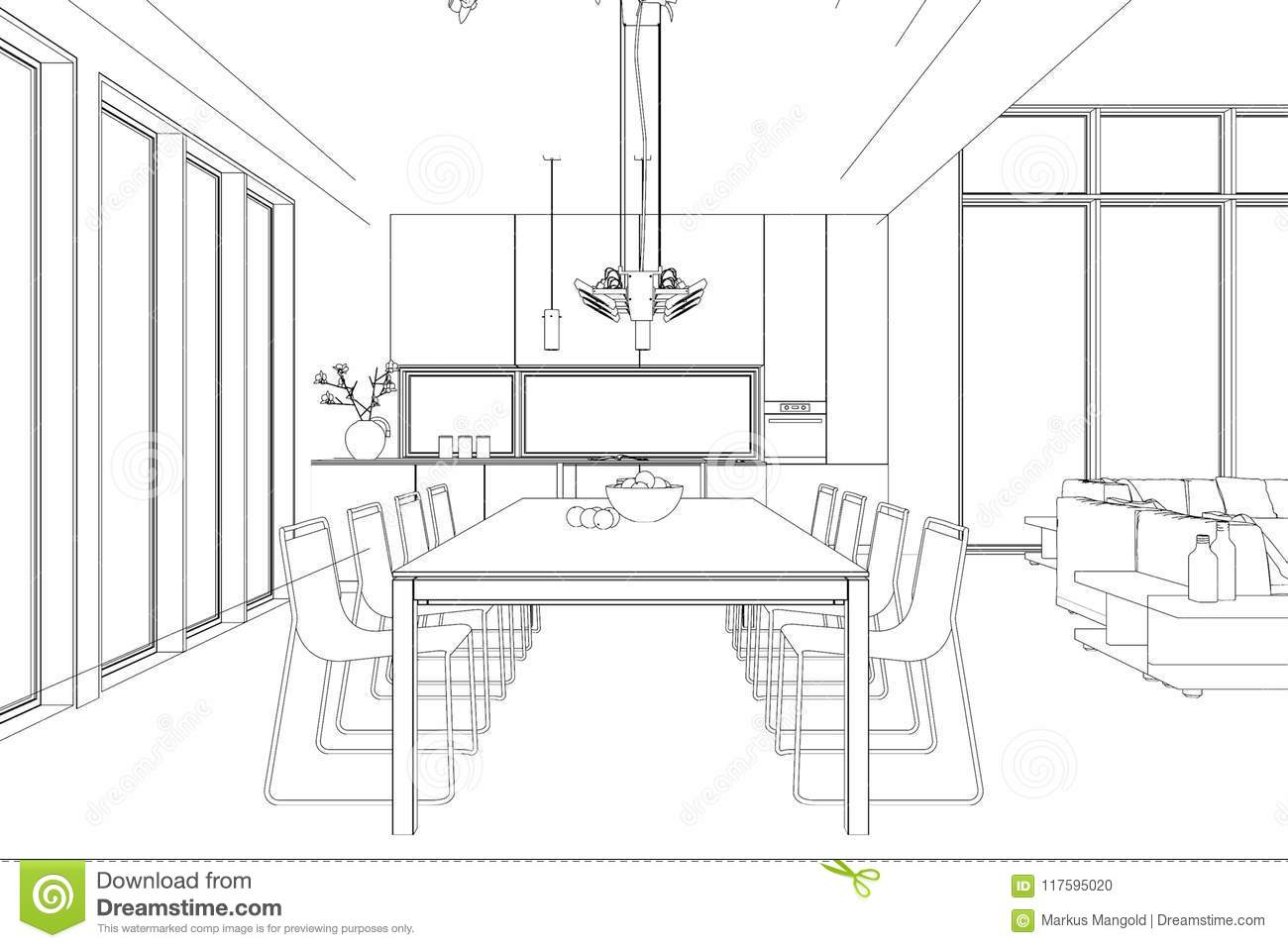 Interior Design Modern Loft Dining Room Custom Drawing Stock Illustration Illustration Of Apartment Gradation 117595020