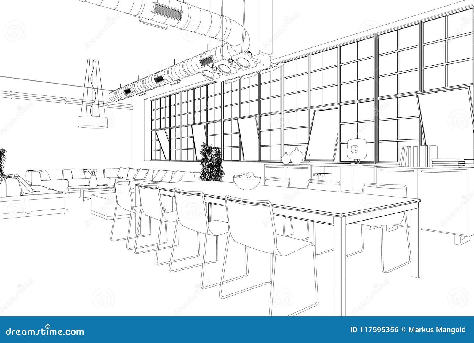Interior Design Modern Loft Dining Room Custom Drawing Stock