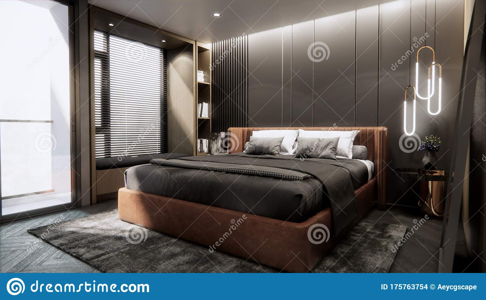 Interior Of Modern Luxury Bedroom With Double Bed Background 3d Rendering Stock Illustration Illustration Of Carpet Background 175763754