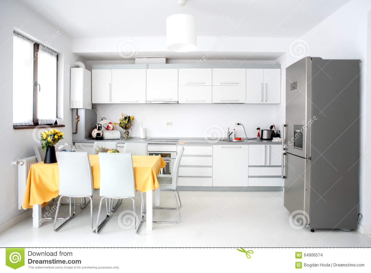 Interior Design Modern And Minimalist Kitchen With Appliances And