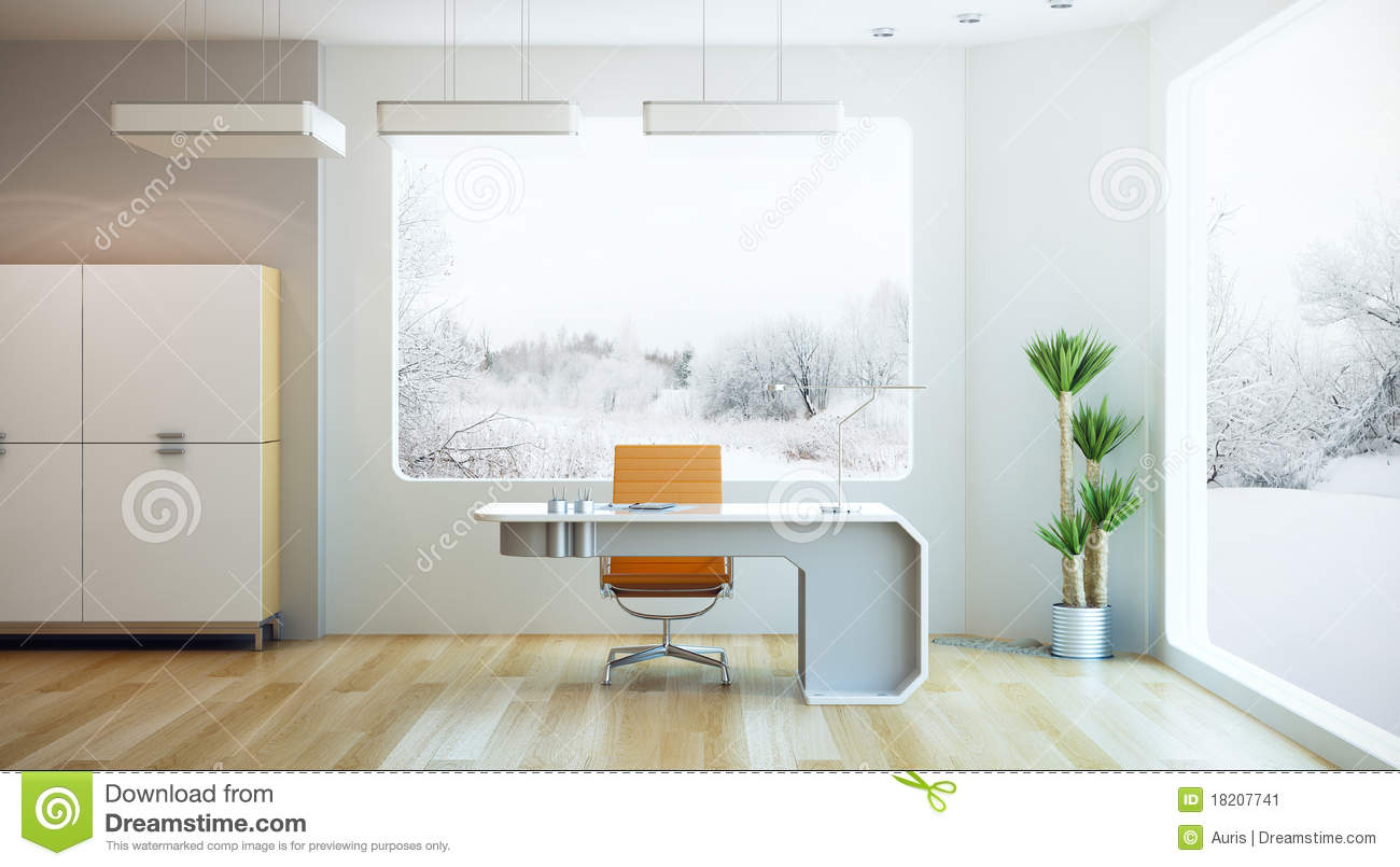 Interior design of modern office stock illustration for Modern interior design for office