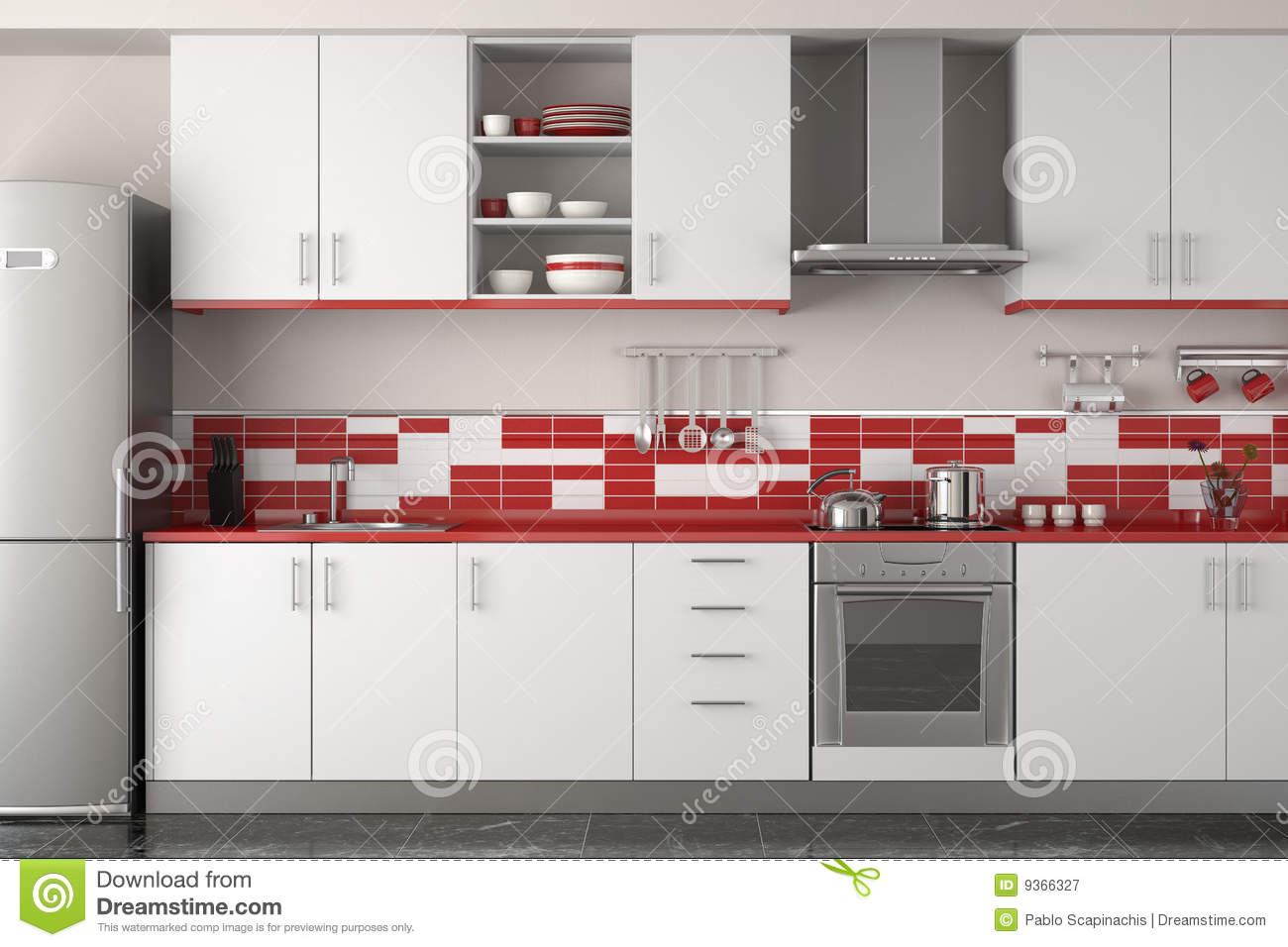Interior Design Of Modern Red Kitchen Stock Illustration Illustration Of Fridge Modern 9366327
