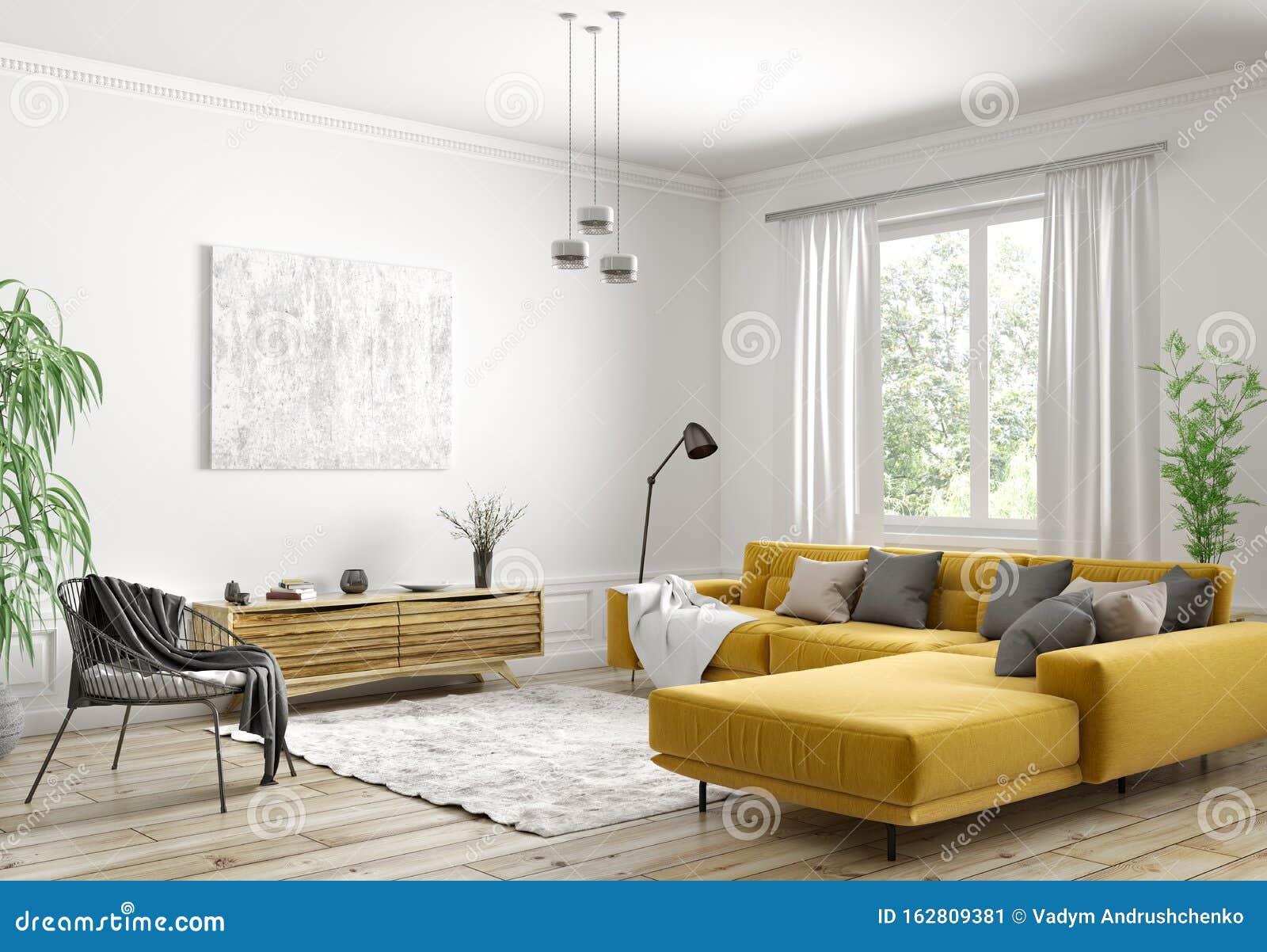 Interior Design Of Modern Scandinavian Apartment Living Room 3d Rendering Stock Illustration Illustration Of Couch Hardwood 162809381