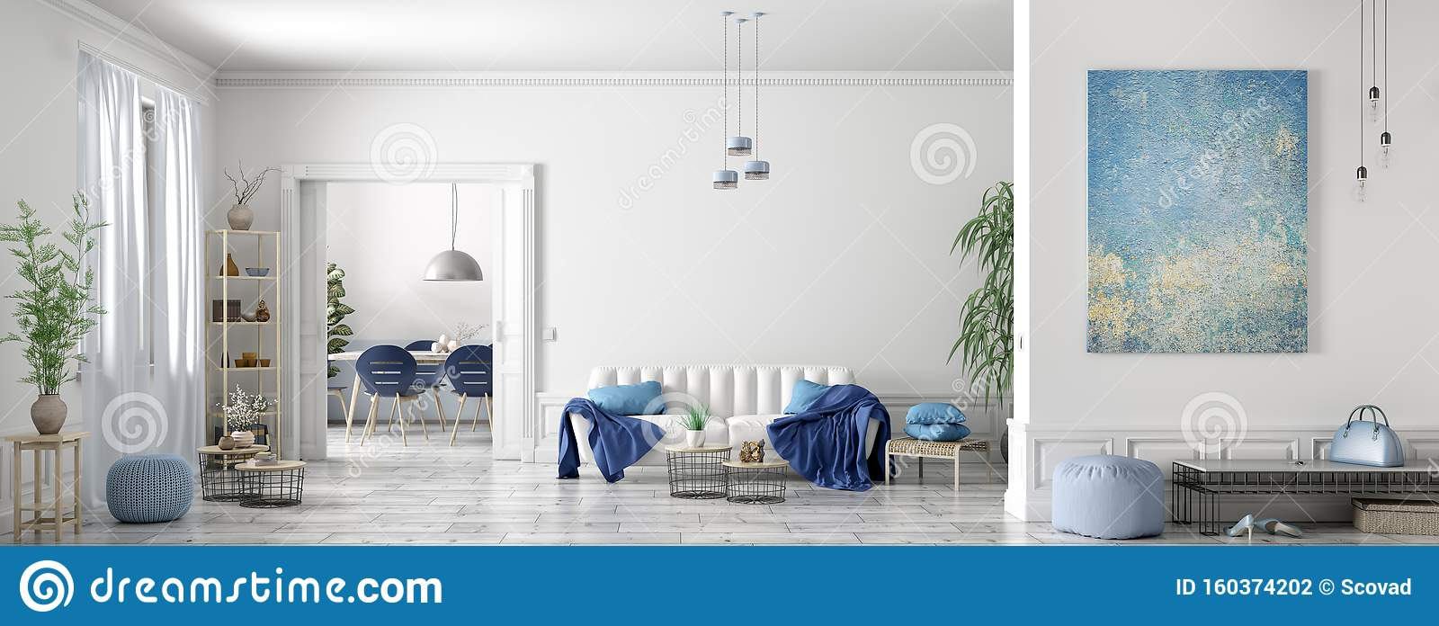 Interior Design Of Modern Scandinavian Apartment Living Room And Dining Room Panorama 3d Rendering Stock Illustration Illustration Of Lounge Chair 160374202