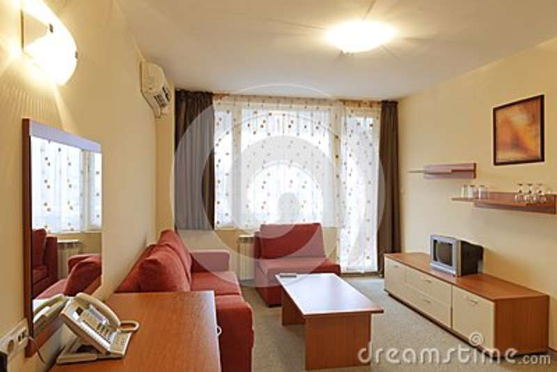 Interior design modern small hotel room with tv stock for Small hotel room