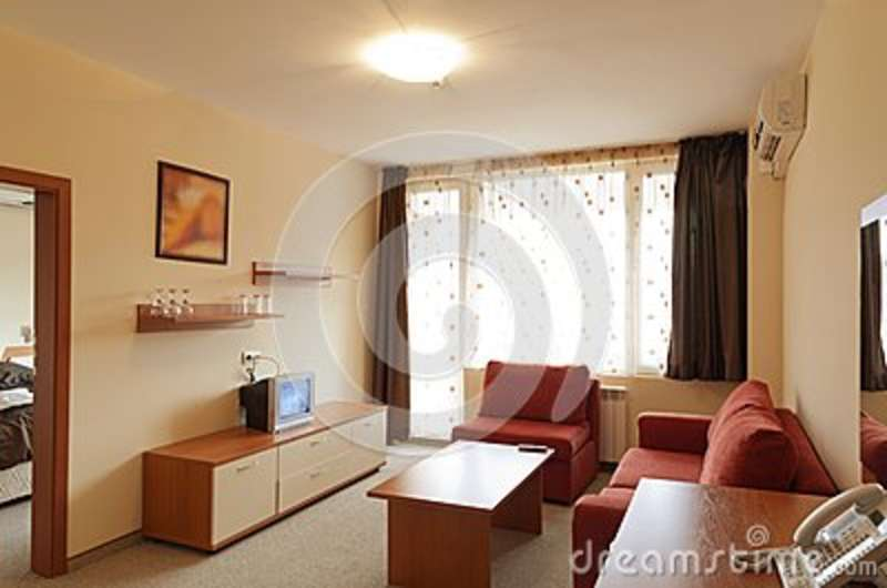 Interior design modern small hotel room with tv stock for Small hotel room design