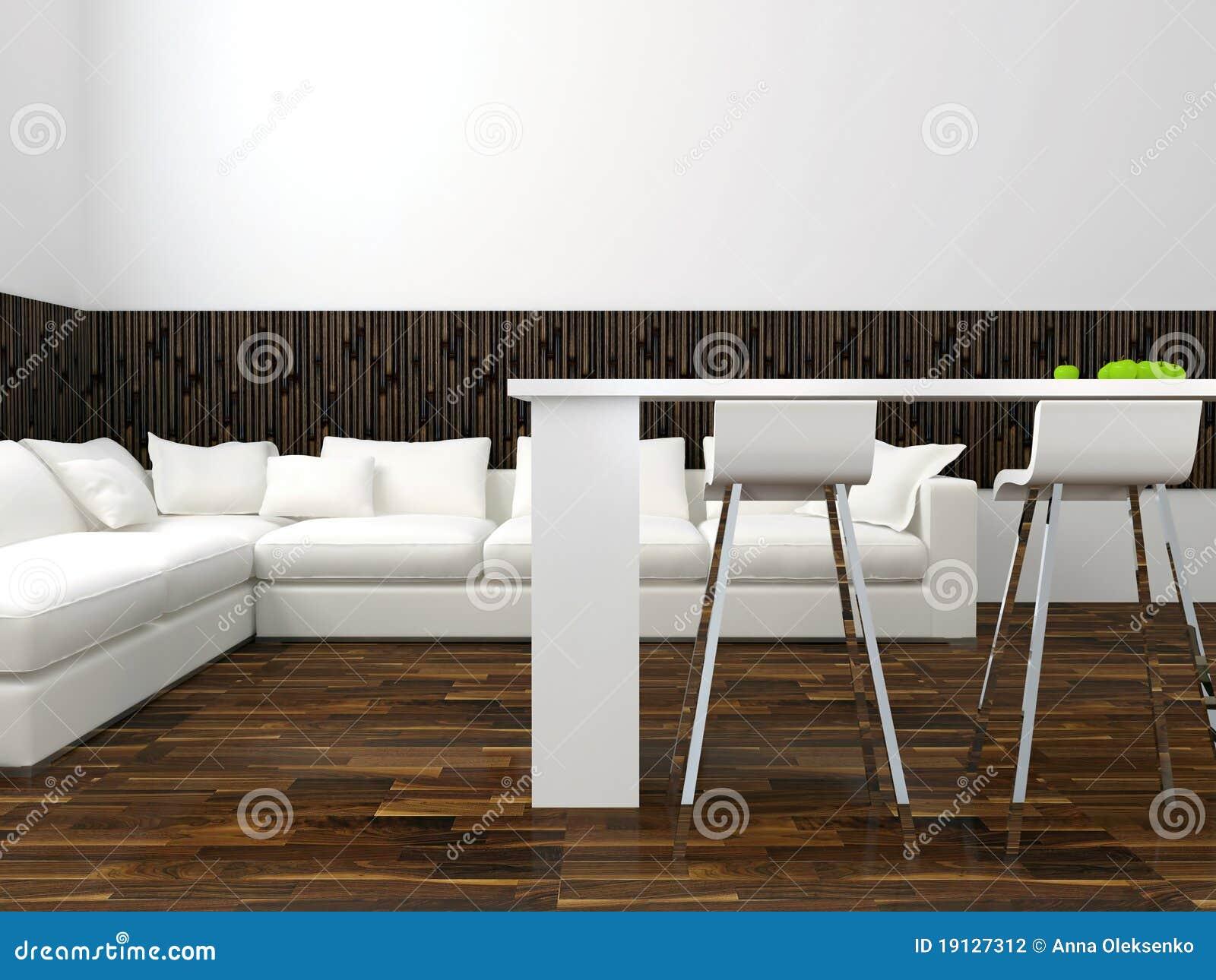 Interior Design Of Modern White Living Room Stock Illustration ...