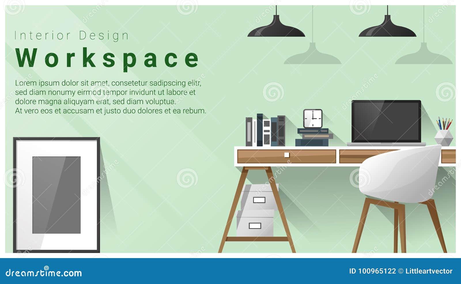 Interior design with Modern workplace background