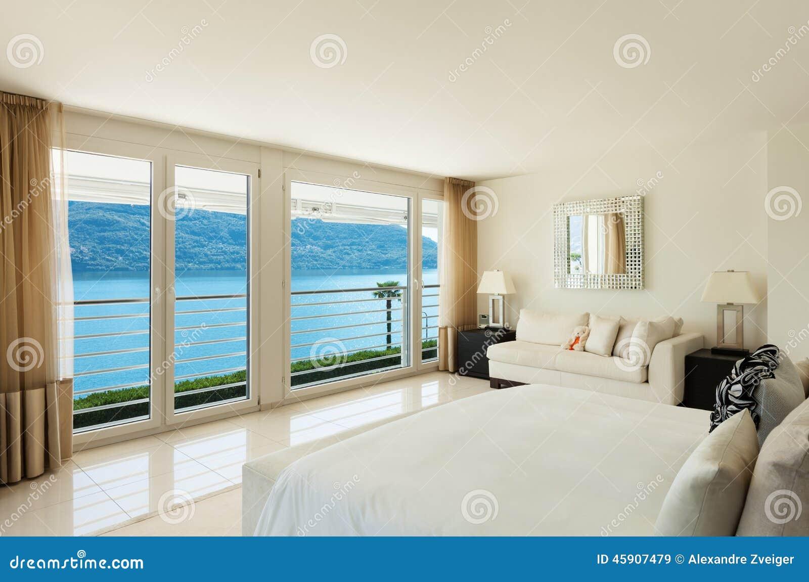 Interior Design Moderno, Camera Da Letto Immagine Stock - Immagine ...
