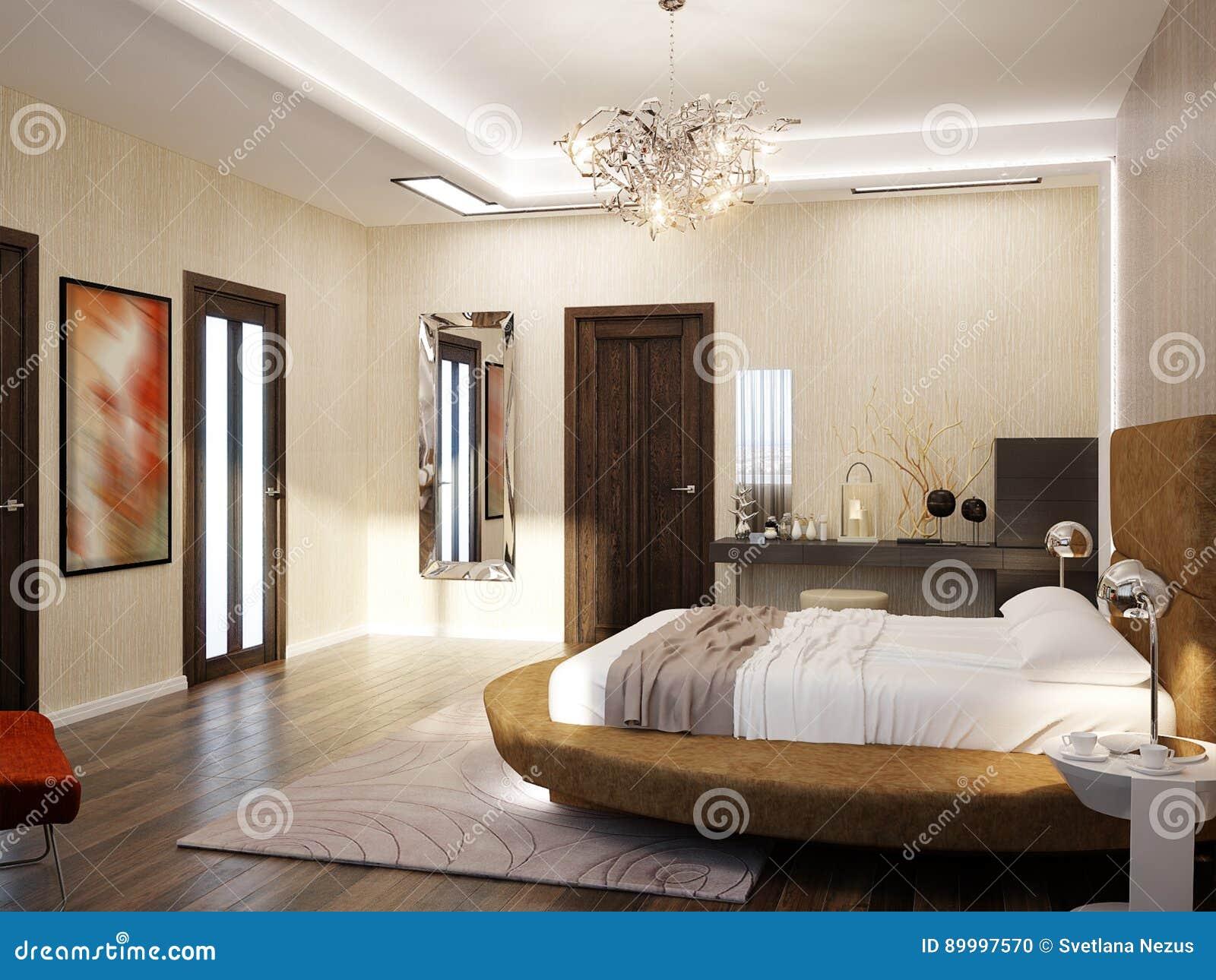 Interior Design Moderno Della Camera Da Letto Con Il Letto ...