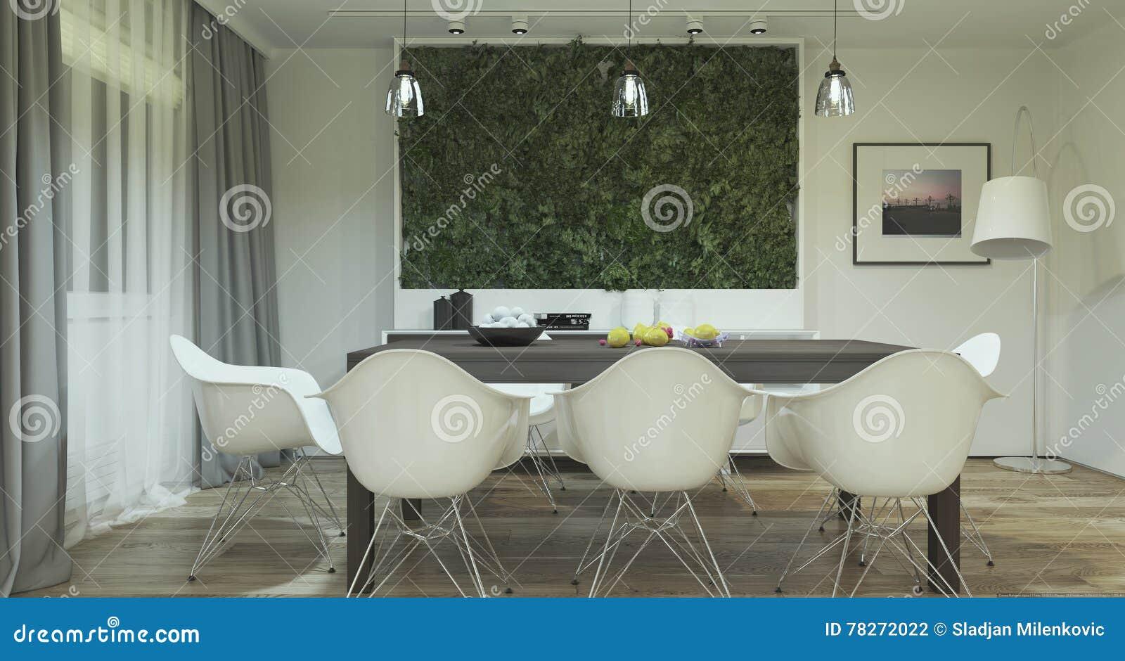 Interior Design Moderno Della Sala Da Pranzo Con Le Piante ...