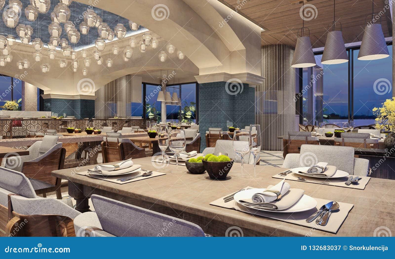 Plafoniere Per Ristoranti : Interior design moderno di un ristorante stile arabo con i fasci