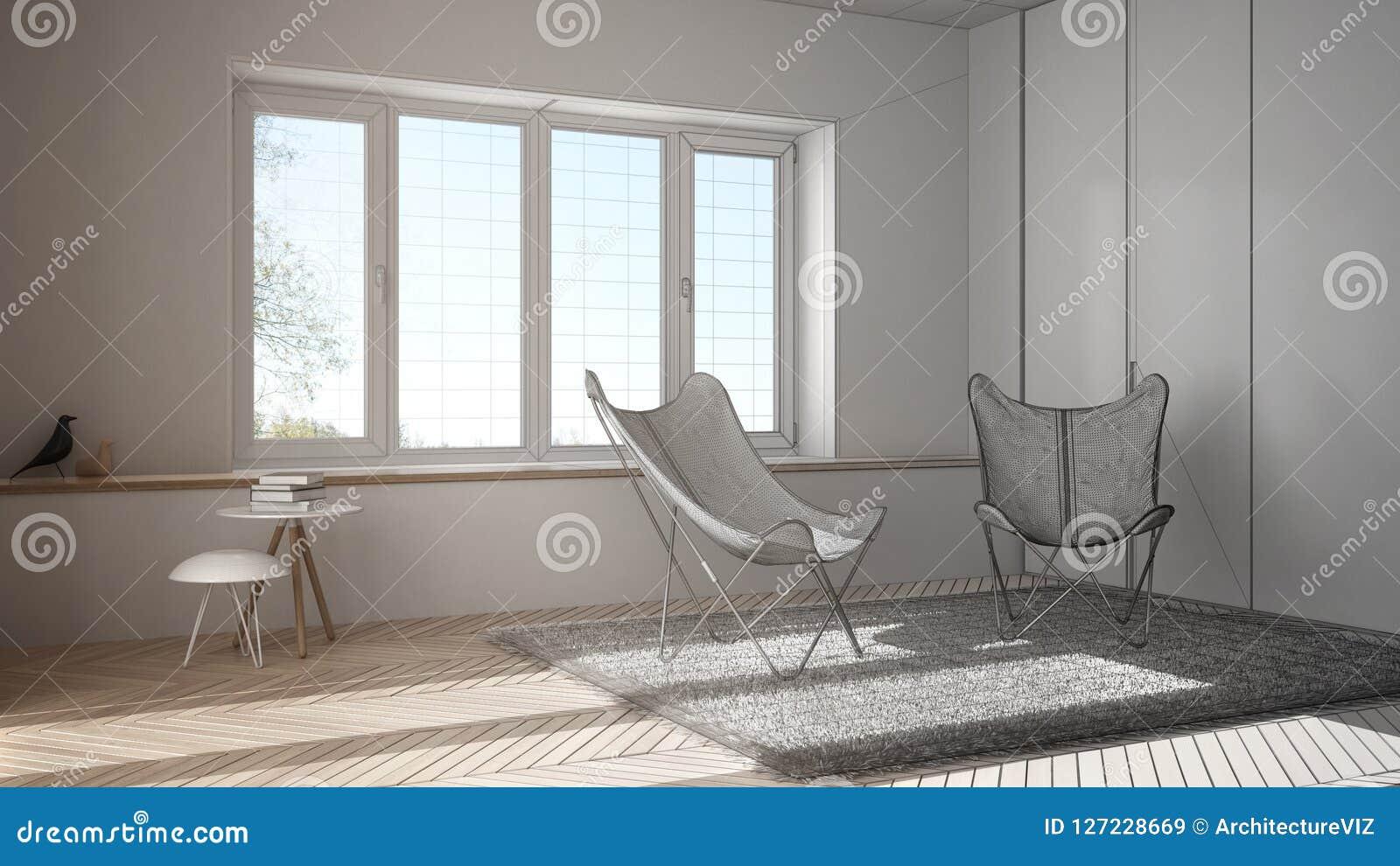 Interior design non finito del progetto di progetto, salone minimo con il tappeto della poltrona, pavimento di parquet e finestra