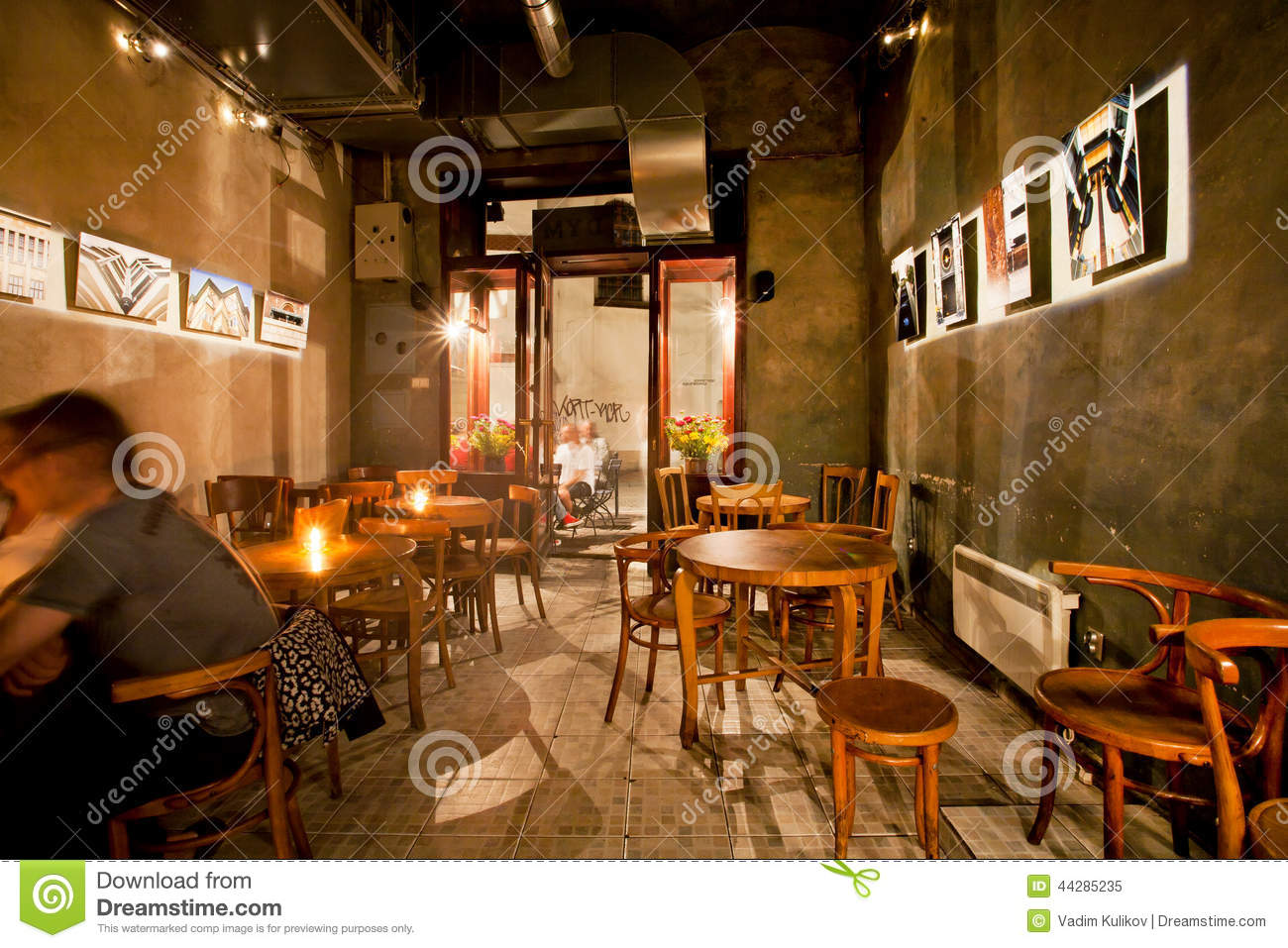 Interior Design Of Old Polish Beer Bar With Wooden Furniture