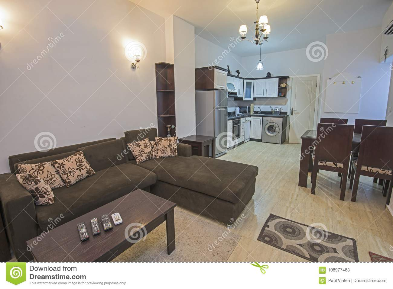 Interior Design Of An Open Plan Apartment Living Room Show Home ...