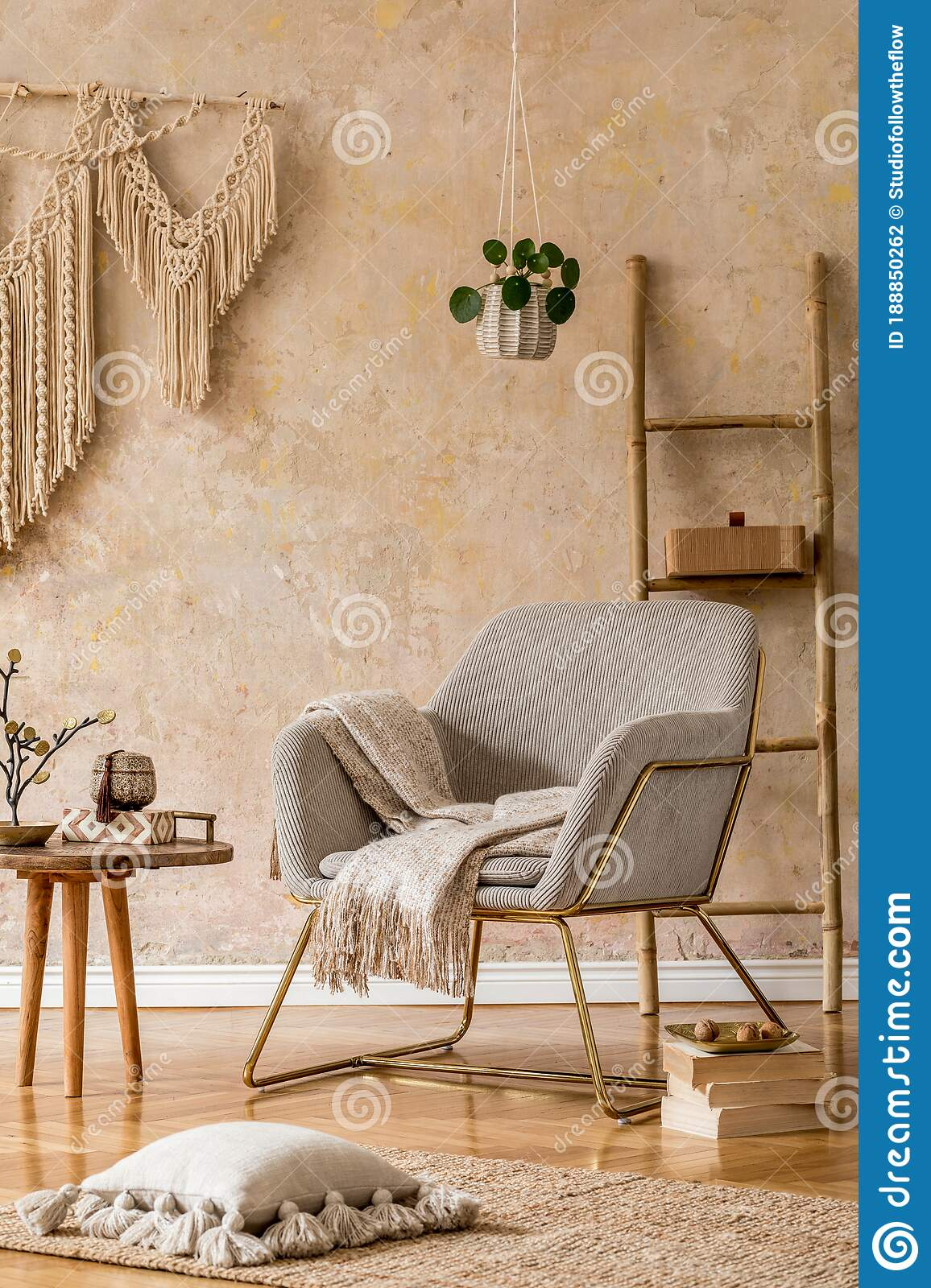 Interior Design Of Oriental Living Room With Modern Armchair Macrame Wooden Ladder Pillows Decorations And Elegant Decor Stock Photo Image Of Interior Chair 188850262
