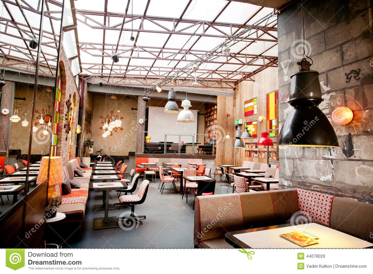 Interior design of a popular restaurant in the center