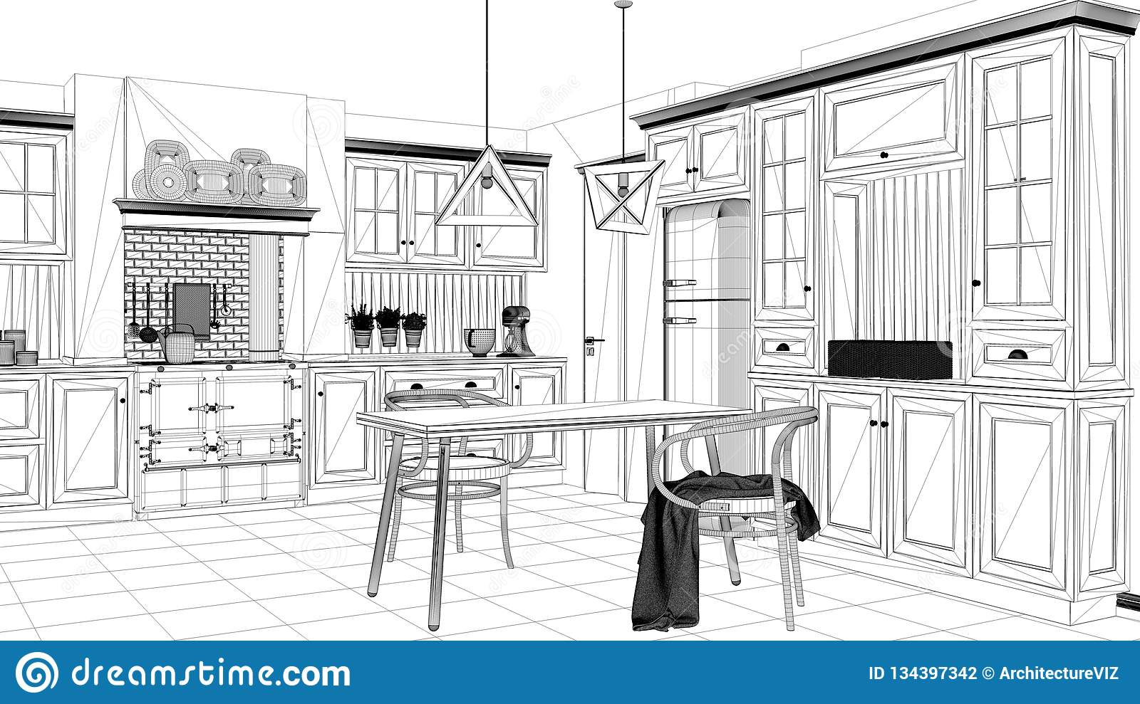 Interior Design Project Black And White Ink Sketch Architecture