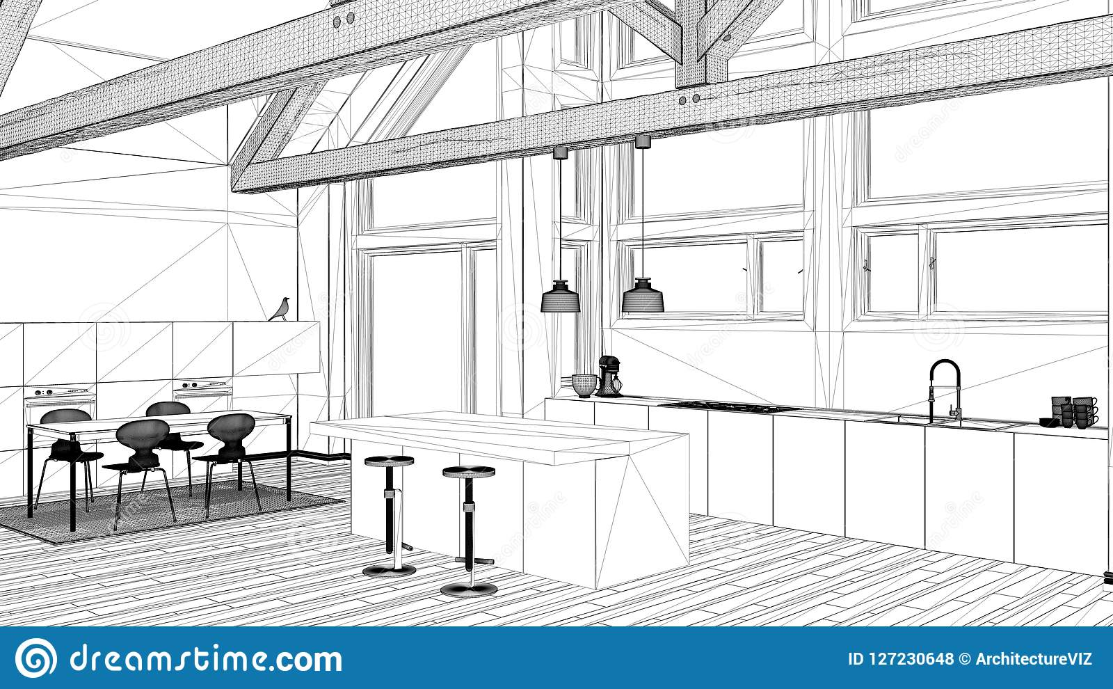 Interior design project black and white ink sketch architecture blueprint showing contemporary kitchen  sc 1 st  Dreamstime.com & Interior Design Project Black And White Ink Sketch Architecture ...