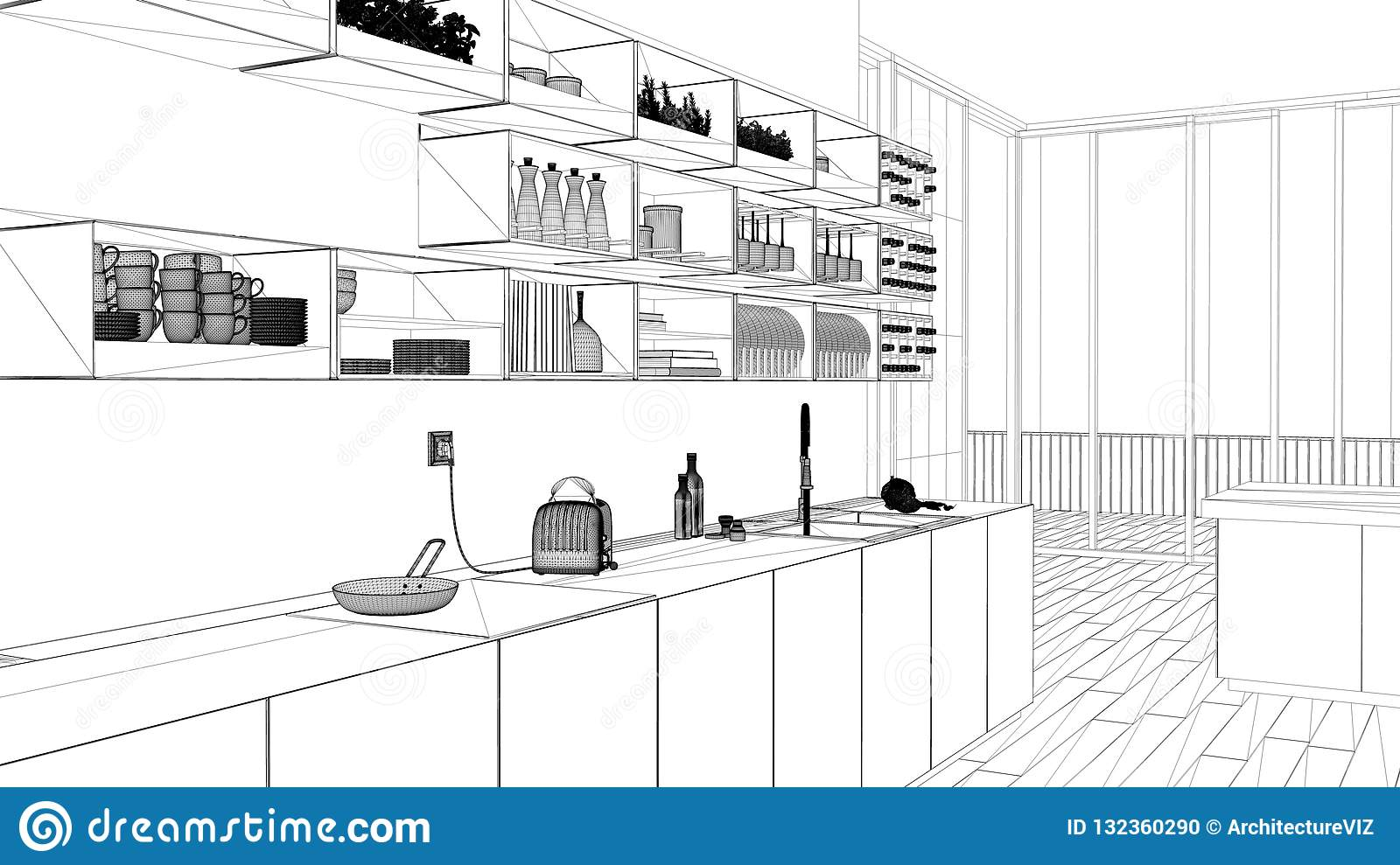 Interior Design Project Black And White Ink Sketch