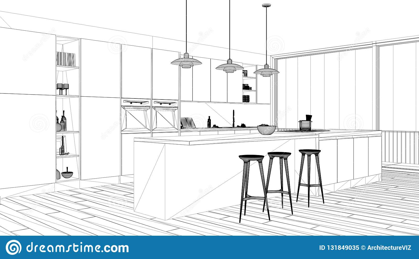 Interior Design Project Black And White Ink Sketch Architecture Blueprint Showing Minimalist Kitchen With Island And Big Panoram Stock Illustration Illustration Of Architecture Project 131849035