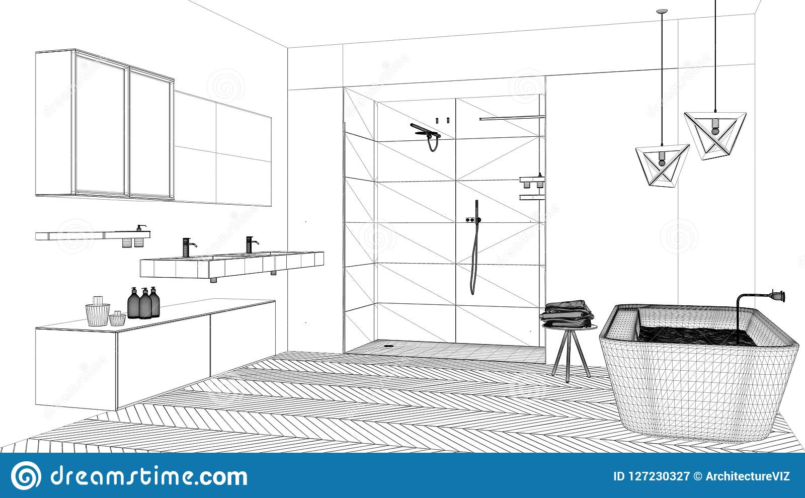 Interior design project black and white ink sketch architecture blueprint showing modern bathroom with bathtub  sc 1 st  Dreamstime.com & Interior Design Project Black And White Ink Sketch Architecture ...