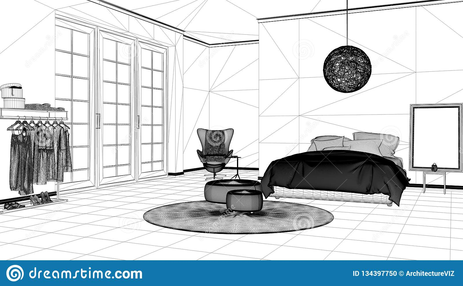 Interior design project black and white ink sketch architecture blueprint showing modern bedroom with  sc 1 st  Dreamstime.com & Interior Design Project Black And White Ink Sketch Architecture ...