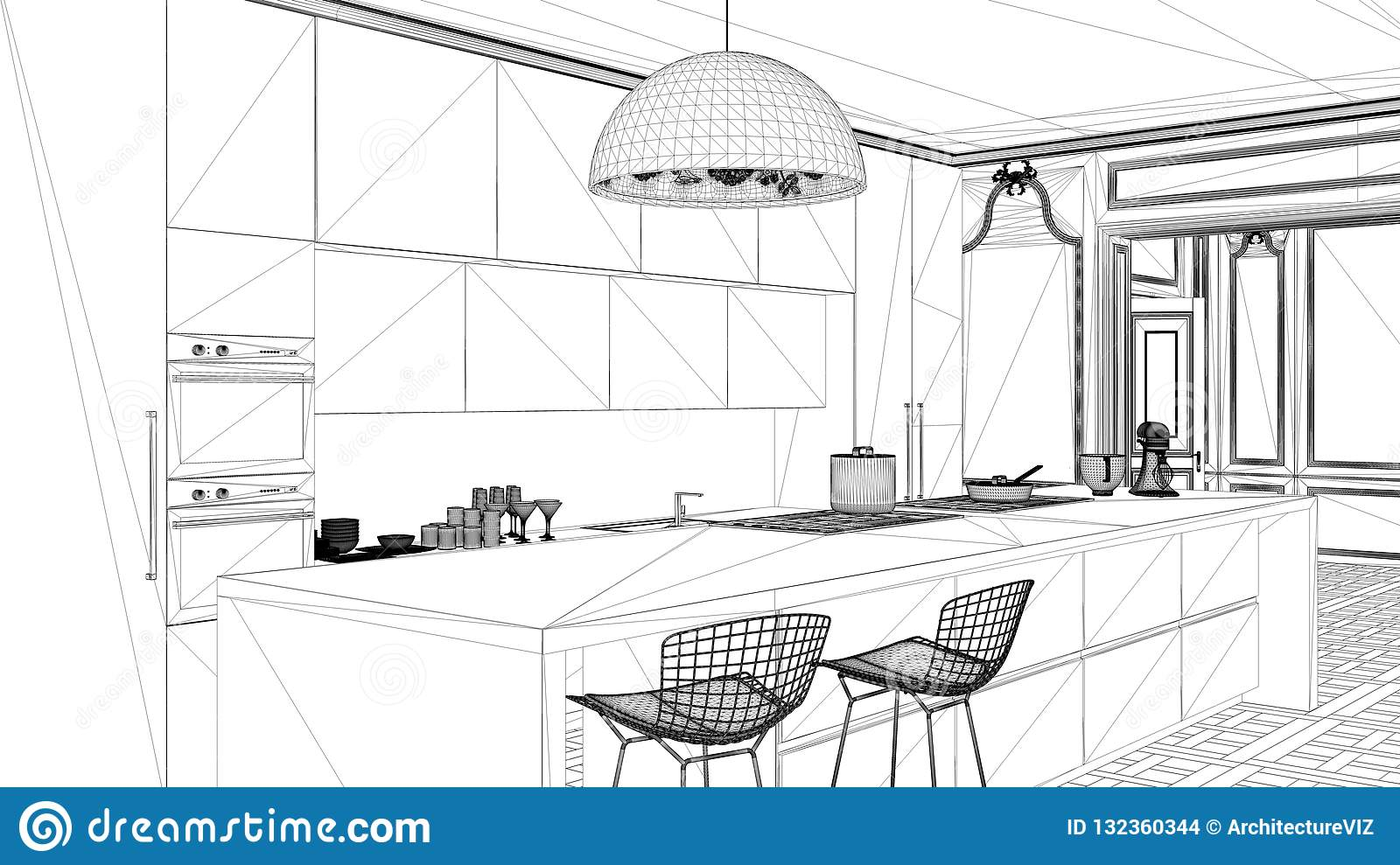Interior design project black and white ink sketch architecture blueprint showing modern kitchen in  sc 1 st  Dreamstime.com & Interior Design Project Black And White Ink Sketch Architecture ...