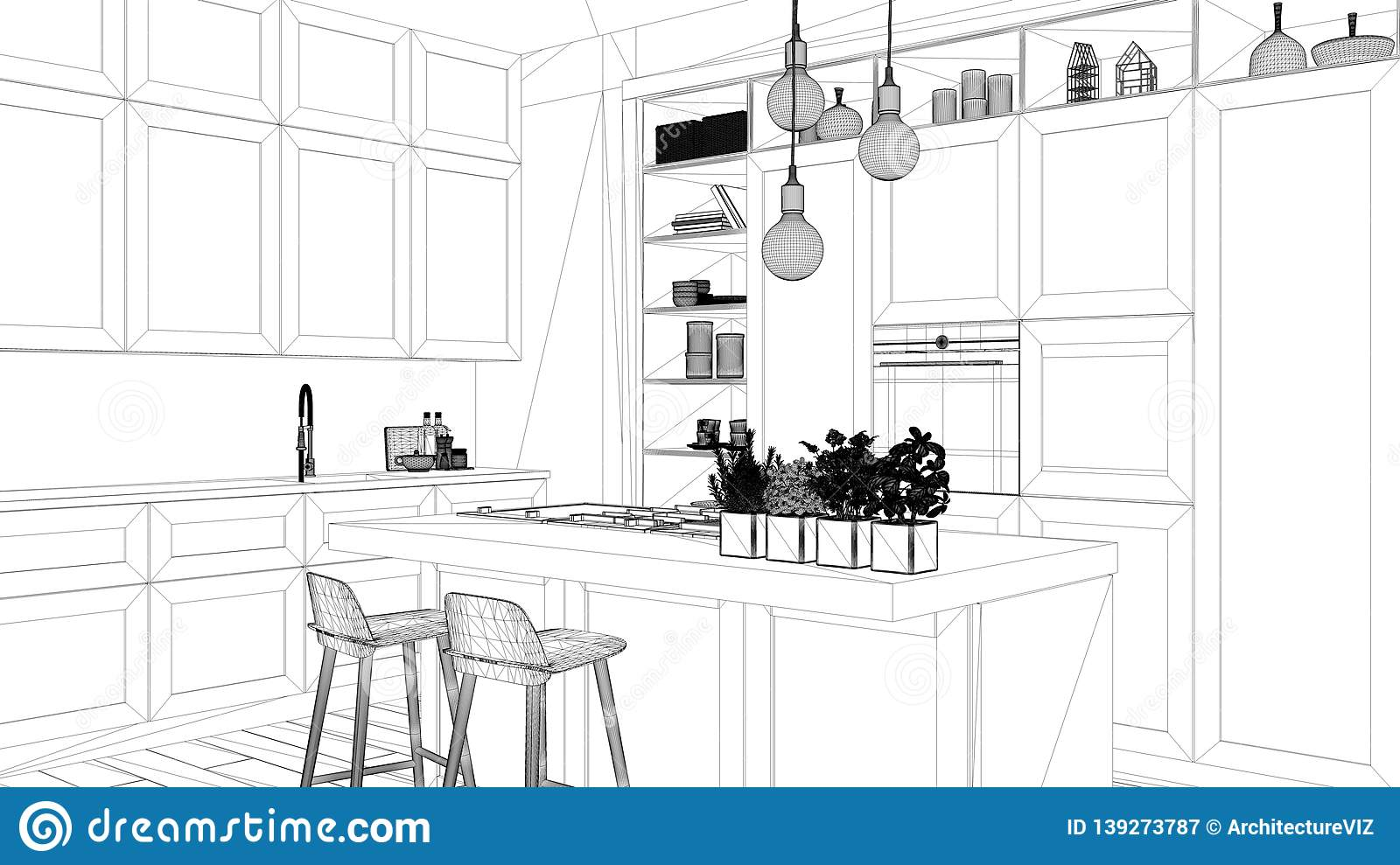 1 695 Interior Design Sketch Kitchen Photos Free Royalty Free Stock Photos From Dreamstime