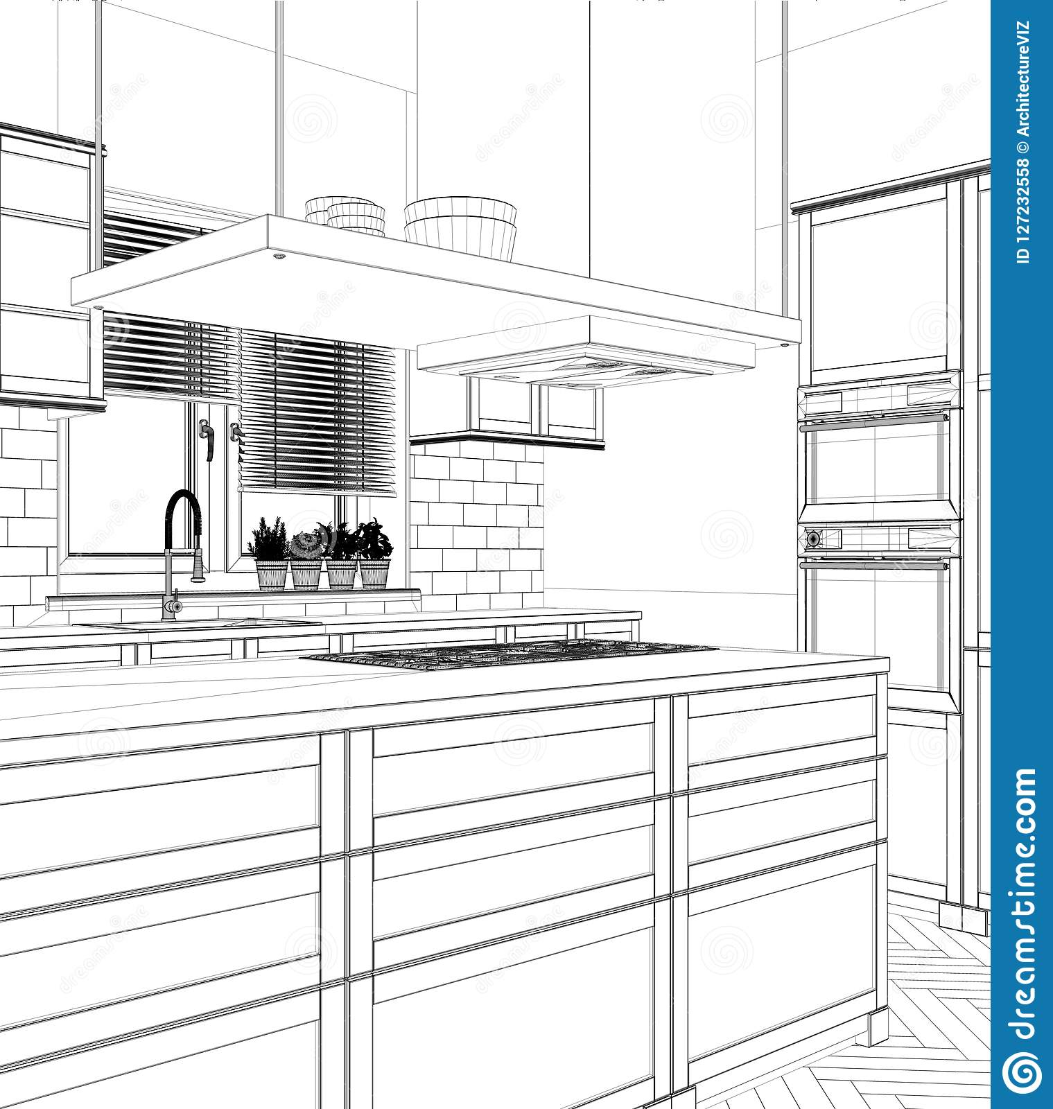 modern architecture blueprints residential interior design project black and white ink sketch architecture blueprint showing modern kitchen with design project black and white ink sketch architecture